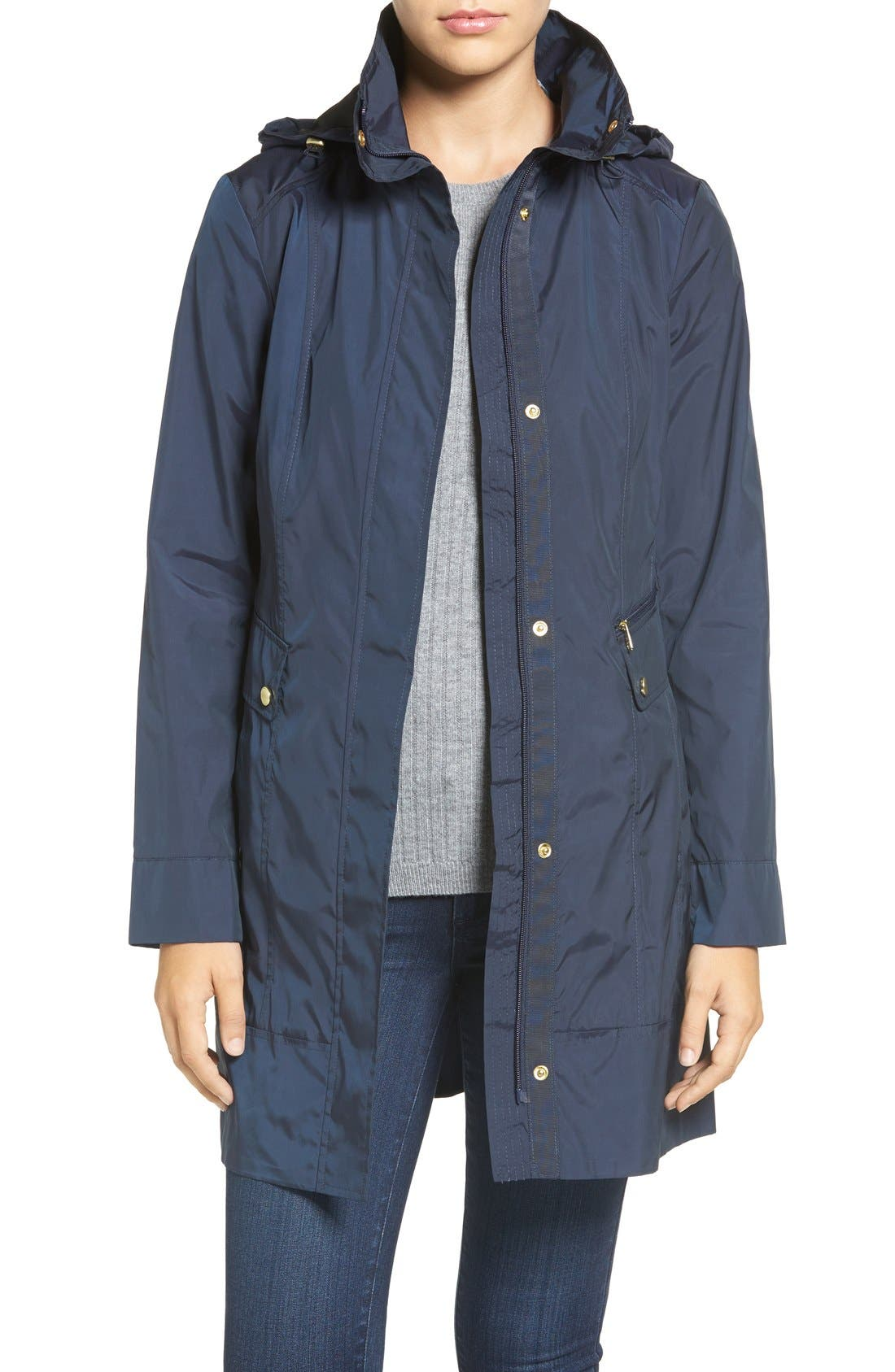Main Image - Cole Haan Signature Back Bow Packable Hooded Raincoat (Regular & Petite)