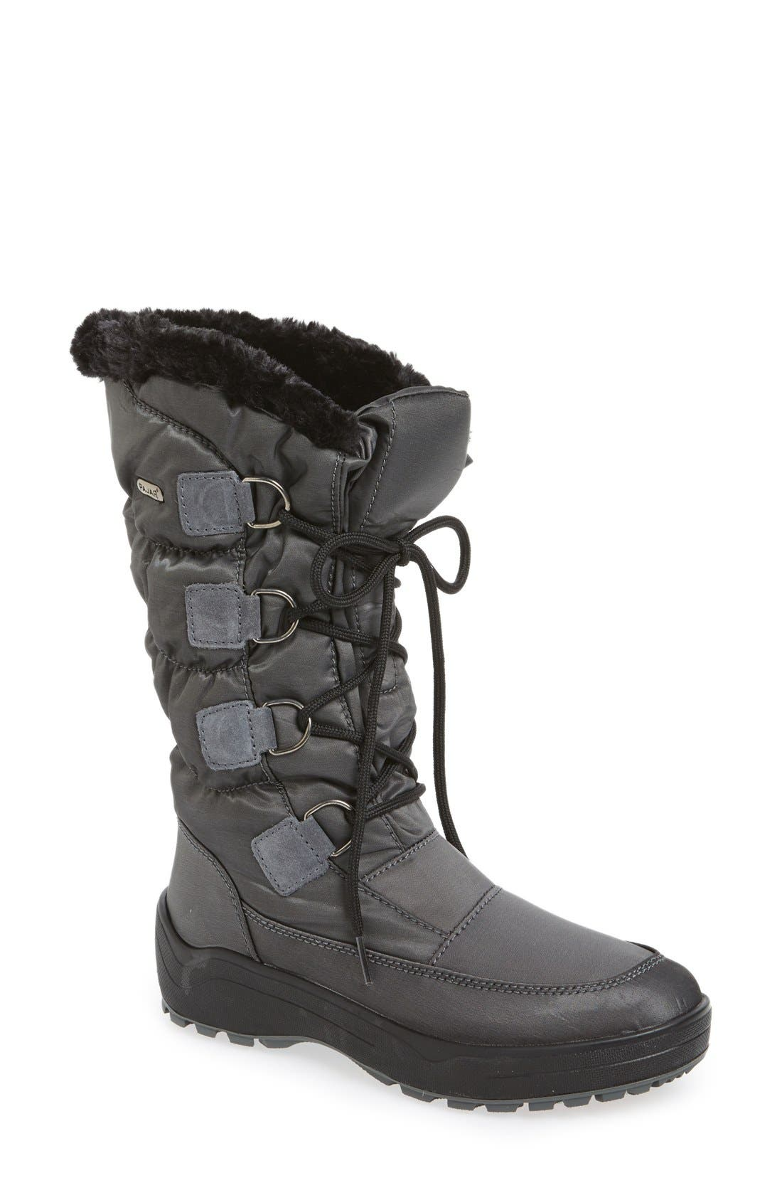 'Riga' Waterproof Ice Grippers<sup>®</sup> Boot,                             Main thumbnail 1, color,                             Charcoal Fabric