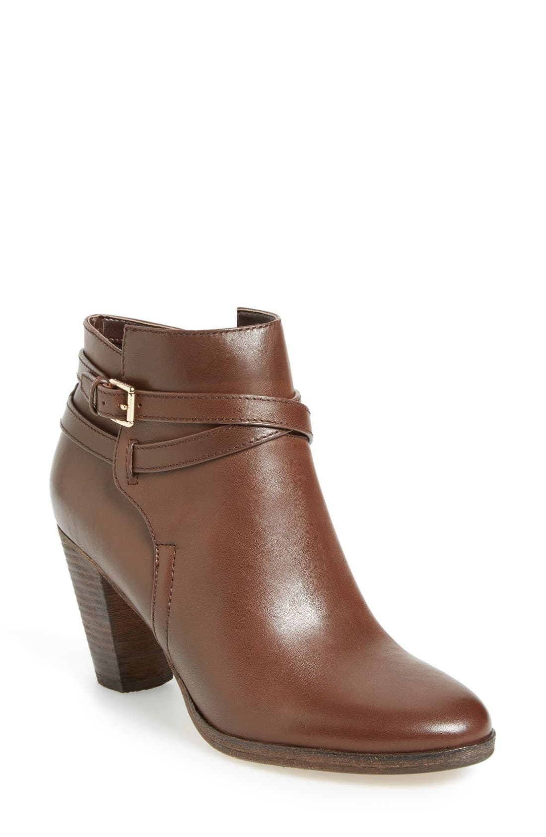 'Hayes' Block Heel Bootie,                             Main thumbnail 1, color,                             Chestnut Leather