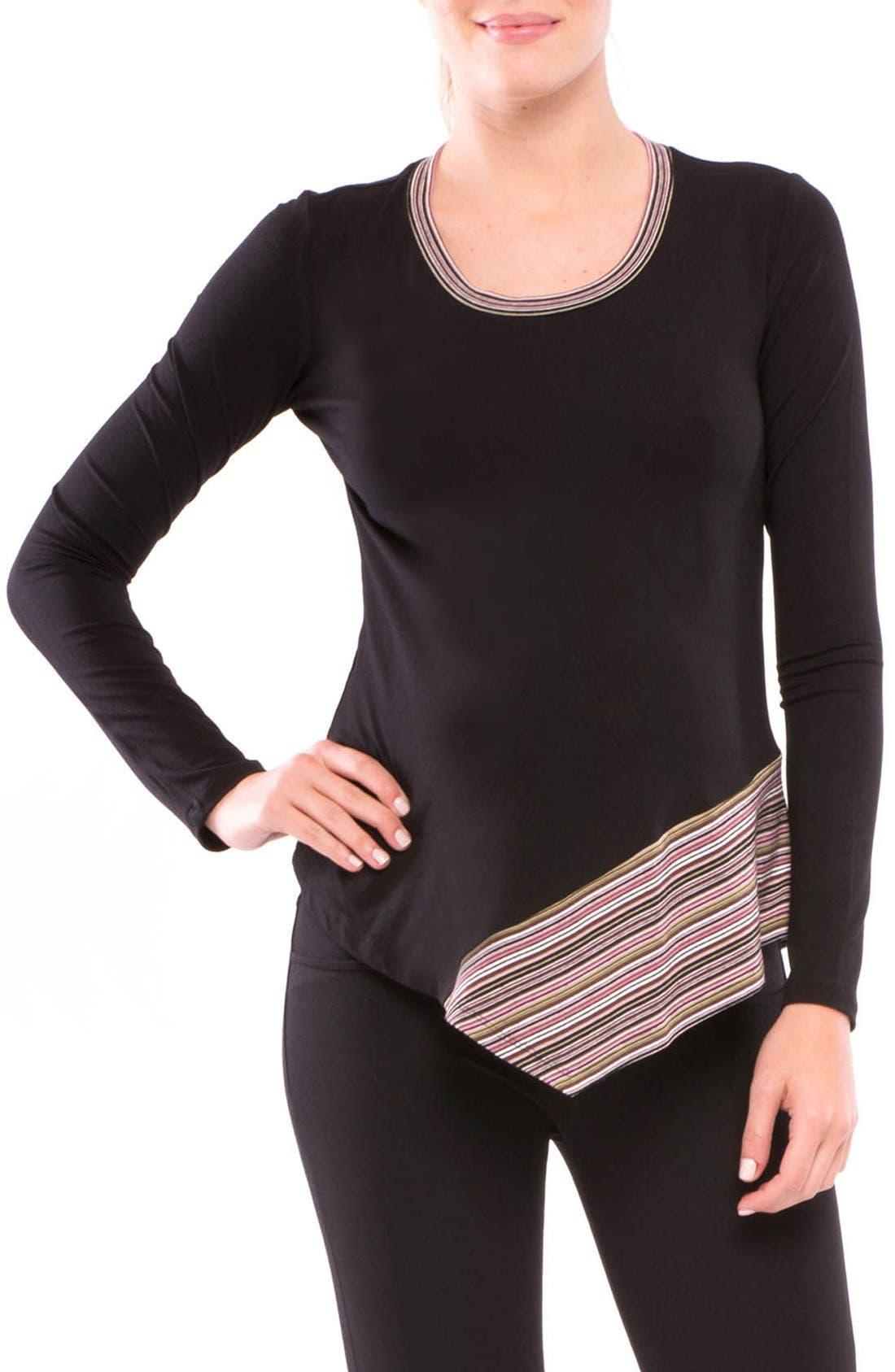 Audrey Asymmetrical Maternity Top,                         Main,                         color, Black Multi Stripe
