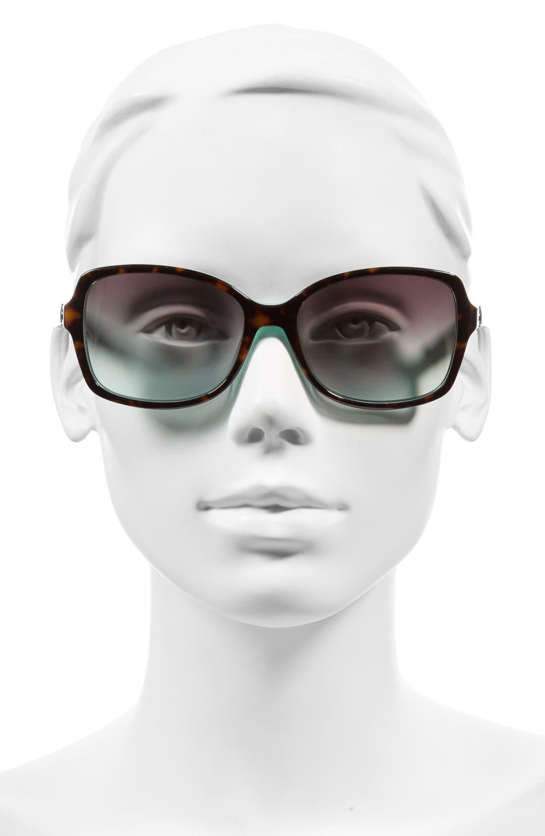 'ayleens' 56mm sunglasses,                             Alternate thumbnail 2, color,                             Havana/ Green