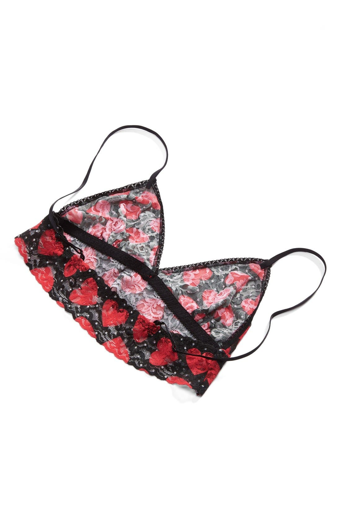 Queen of Hearts Bralette,                             Alternate thumbnail 4, color,                             Black/ Red