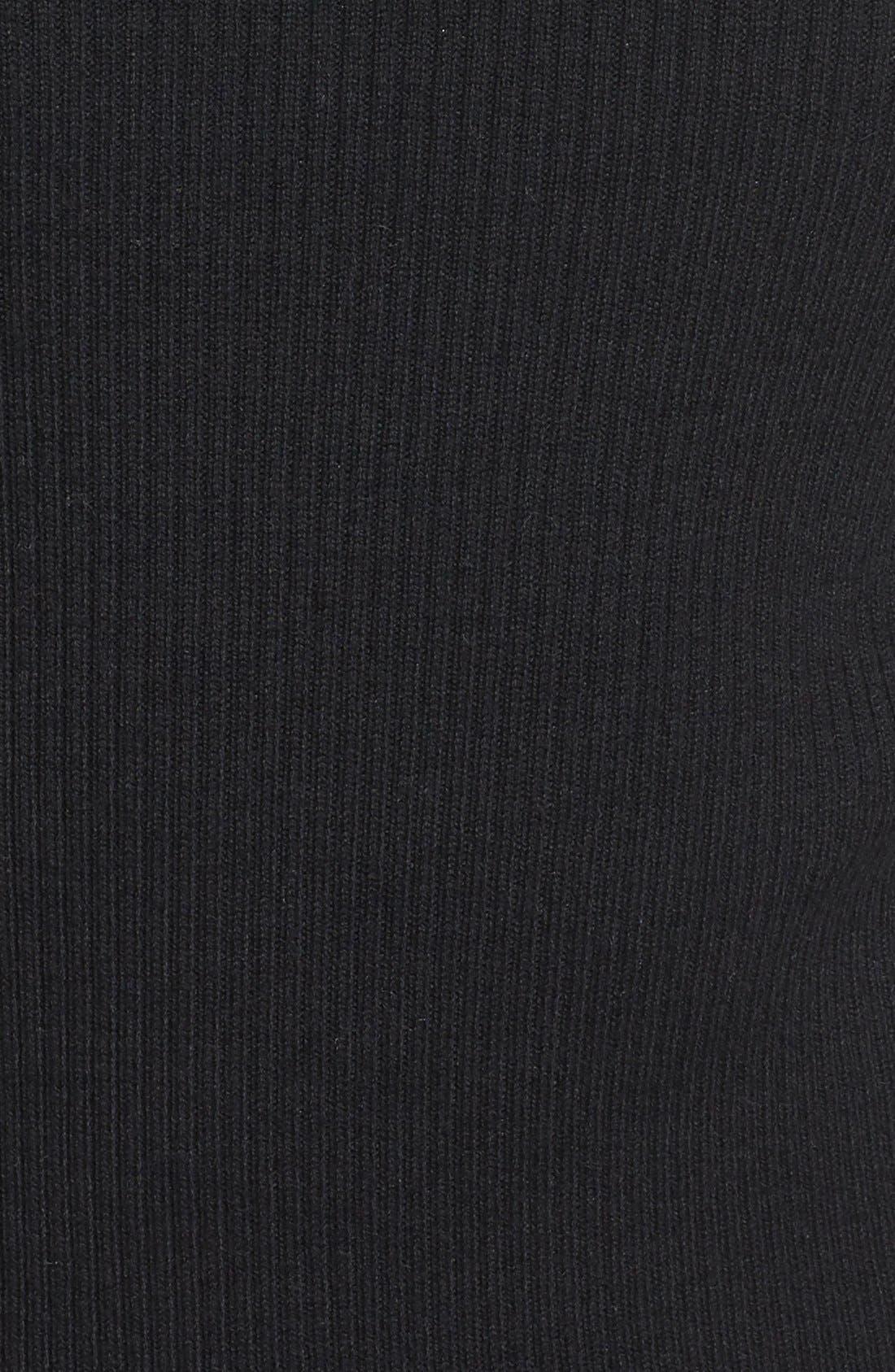 Rib Knit Pullover,                             Alternate thumbnail 5, color,                             Black