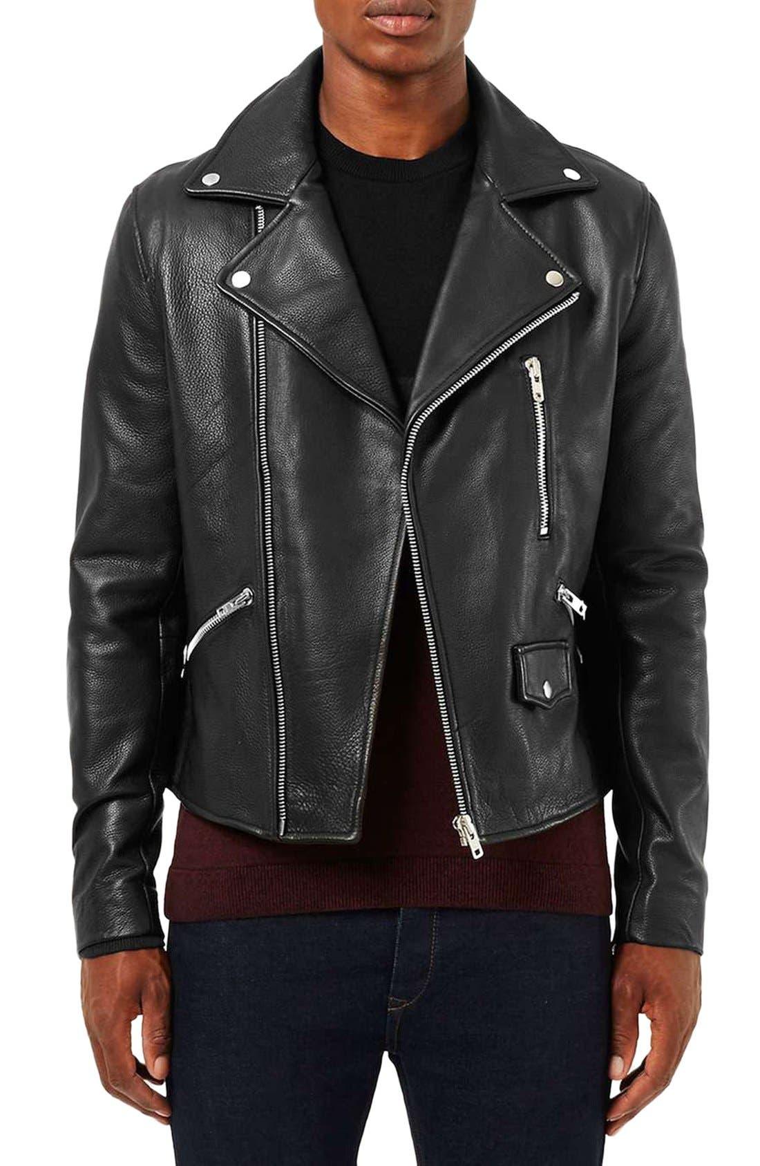 Alternate Image 1 Selected - Topman Leather Biker Jacket