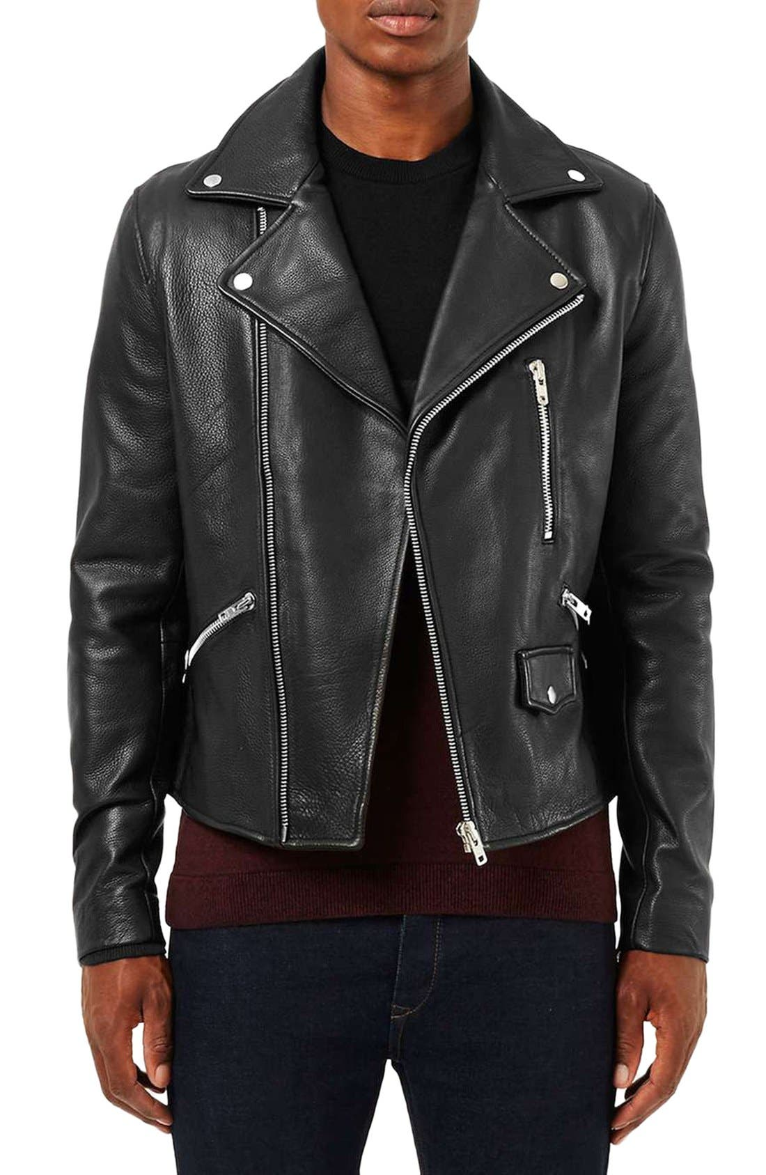 Main Image - Topman Leather Biker Jacket