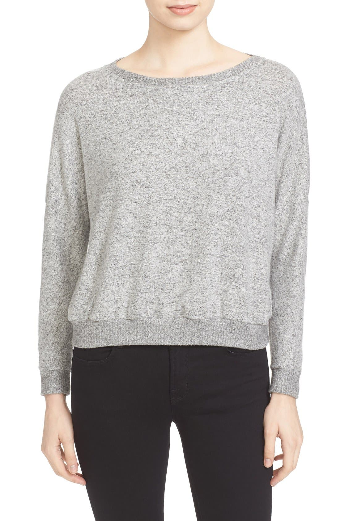 Soft Joie Giardia Drop Shoulder Sweater,                         Main,                         color, Heather Grey