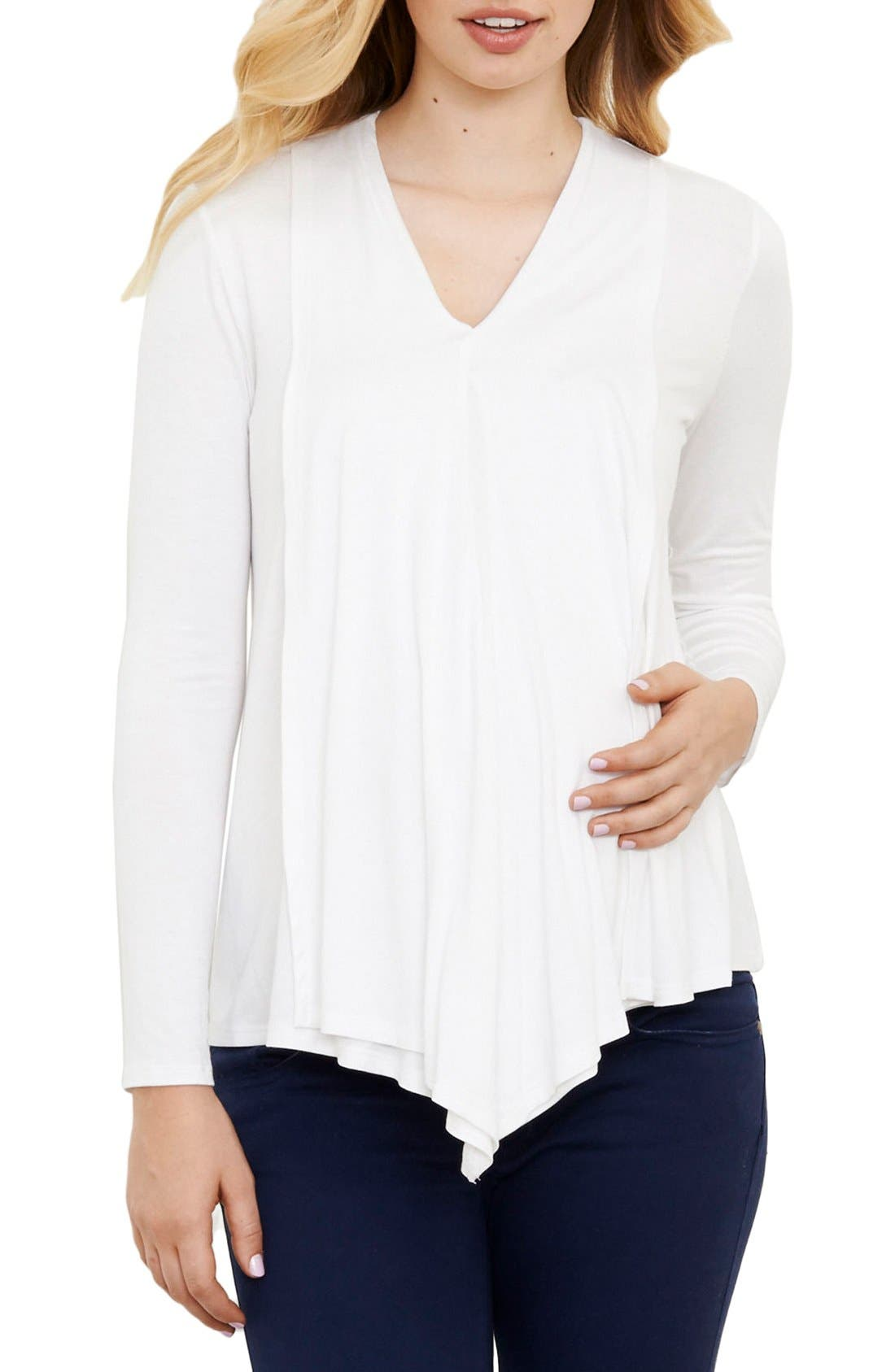 Draped Nursing Top,                             Main thumbnail 1, color,                             Ivory