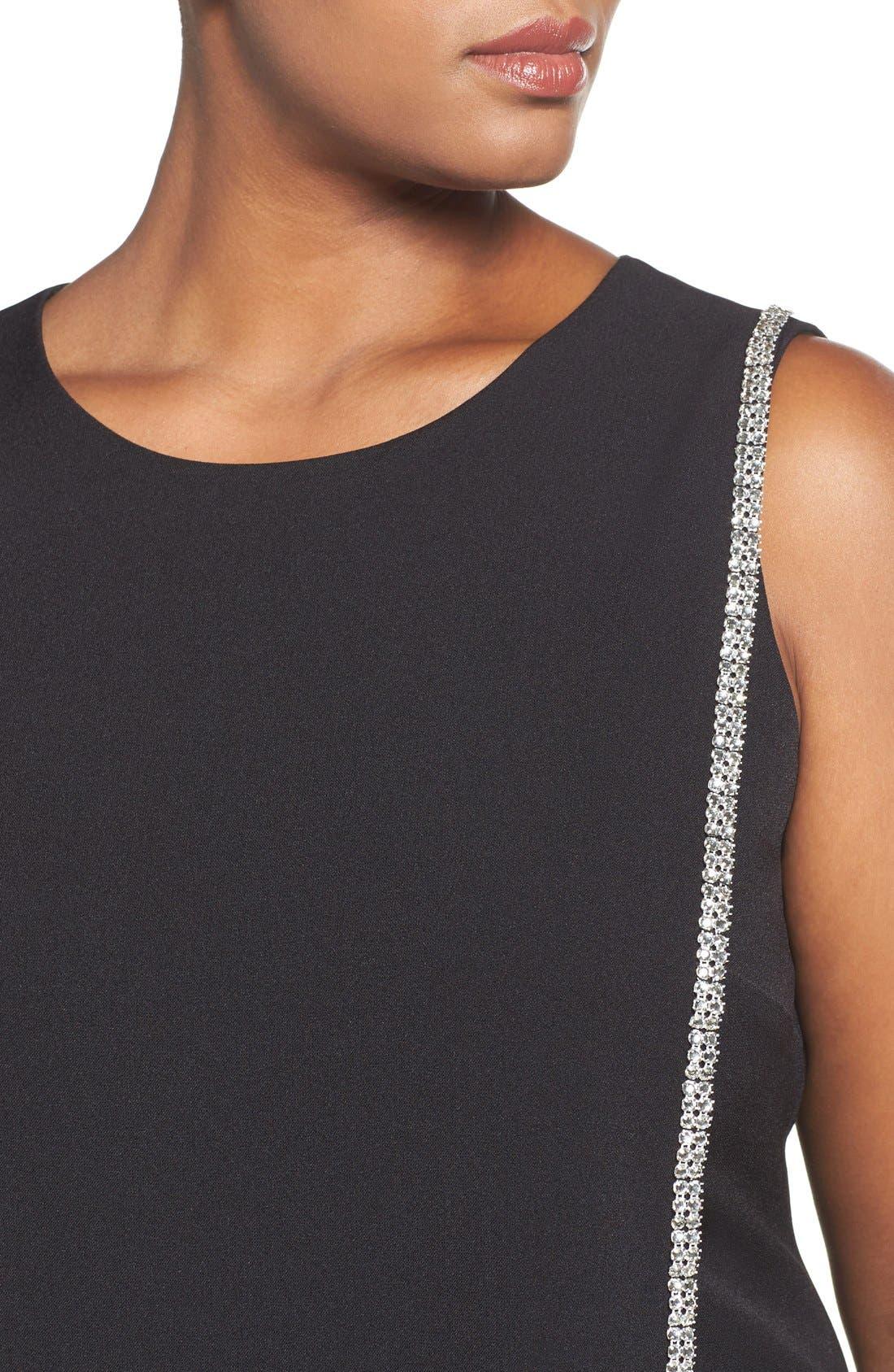 Crystal Trim Shift Dress,                             Alternate thumbnail 4, color,                             Black