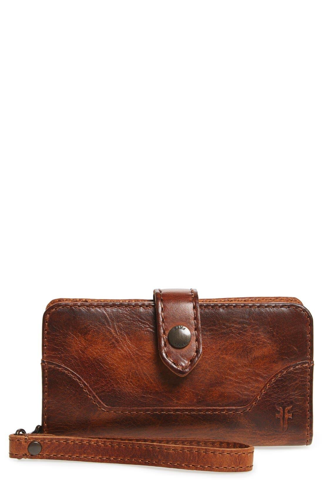 'Melissa' Leather Phone Wallet,                             Main thumbnail 1, color,                             Cognac