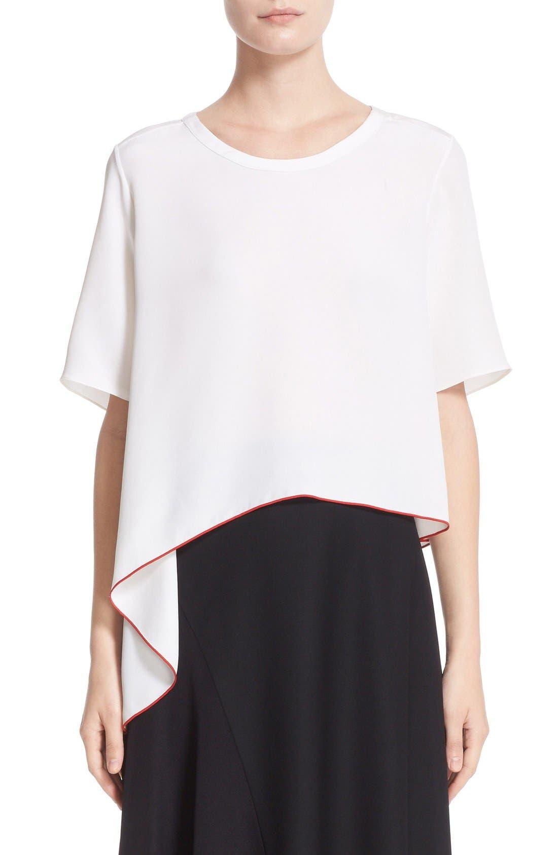 Asymmetrical Silk Tee,                         Main,                         color, White