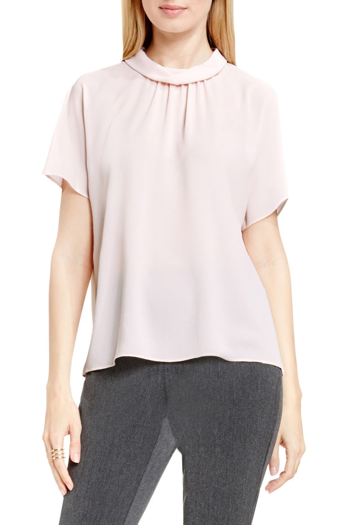 Shirred Mock Neck Blouse,                         Main,                         color, Flora Pink
