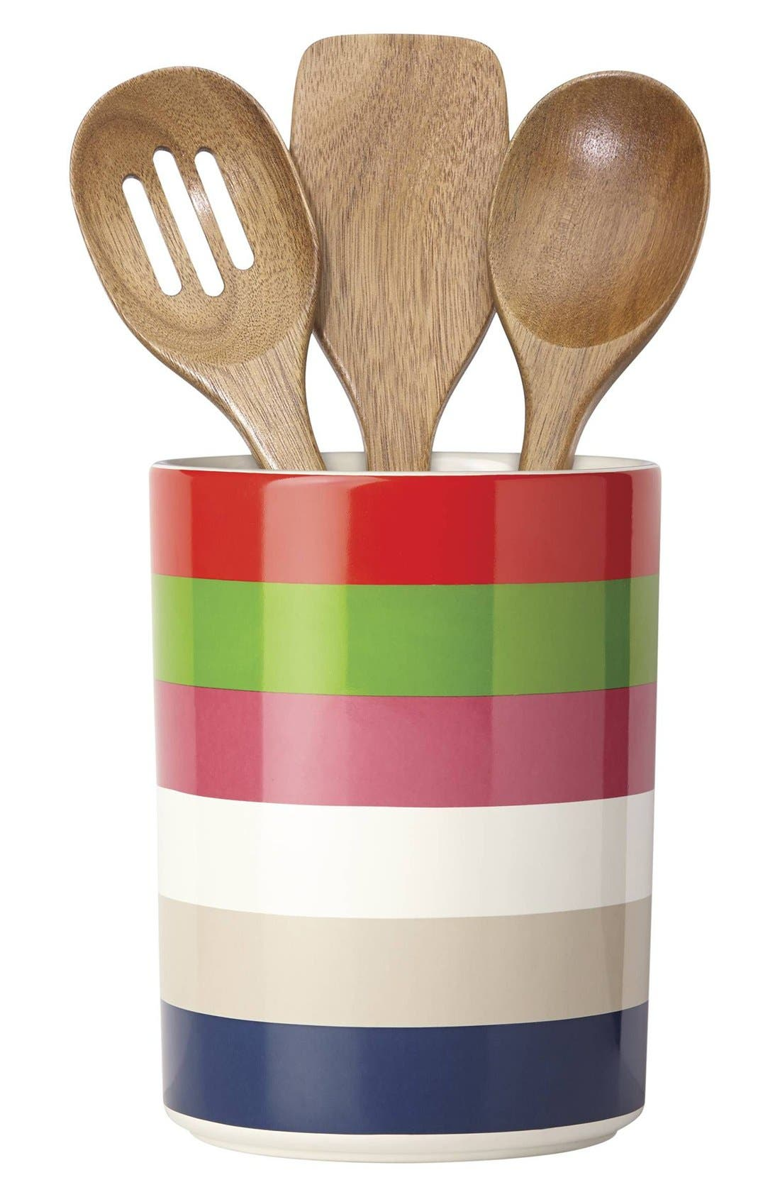 'all in good taste' 'deco' utensil crock & wooden spoons,                         Main,                         color, Multi Color Stripe