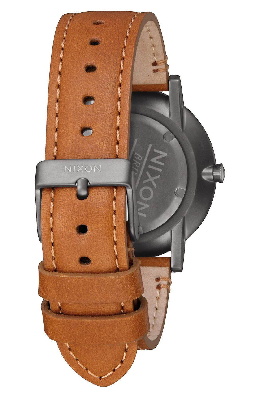 The Porter Leather Strap Watch, 40mm,                             Alternate thumbnail 2, color,                             Gunmetal/ Charcoal/ Taupe
