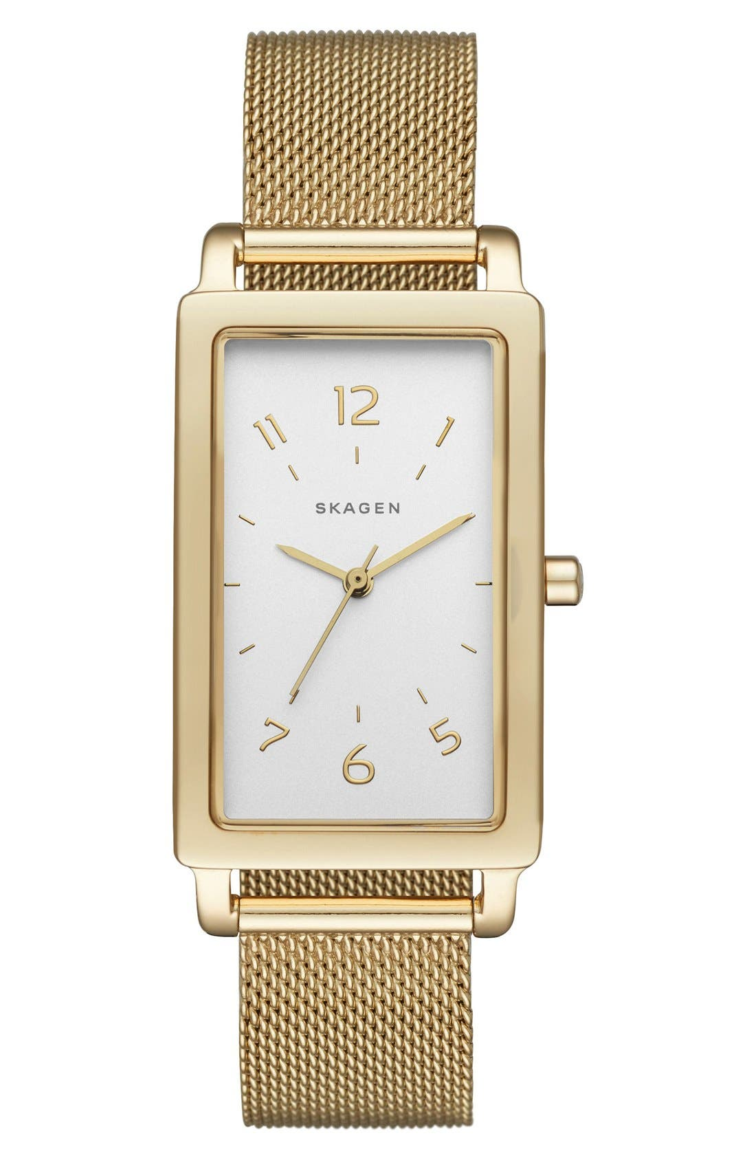 Main Image - Skagen 'Hagen' Rectangle Mesh Strap Watch, 22mm x 43mm