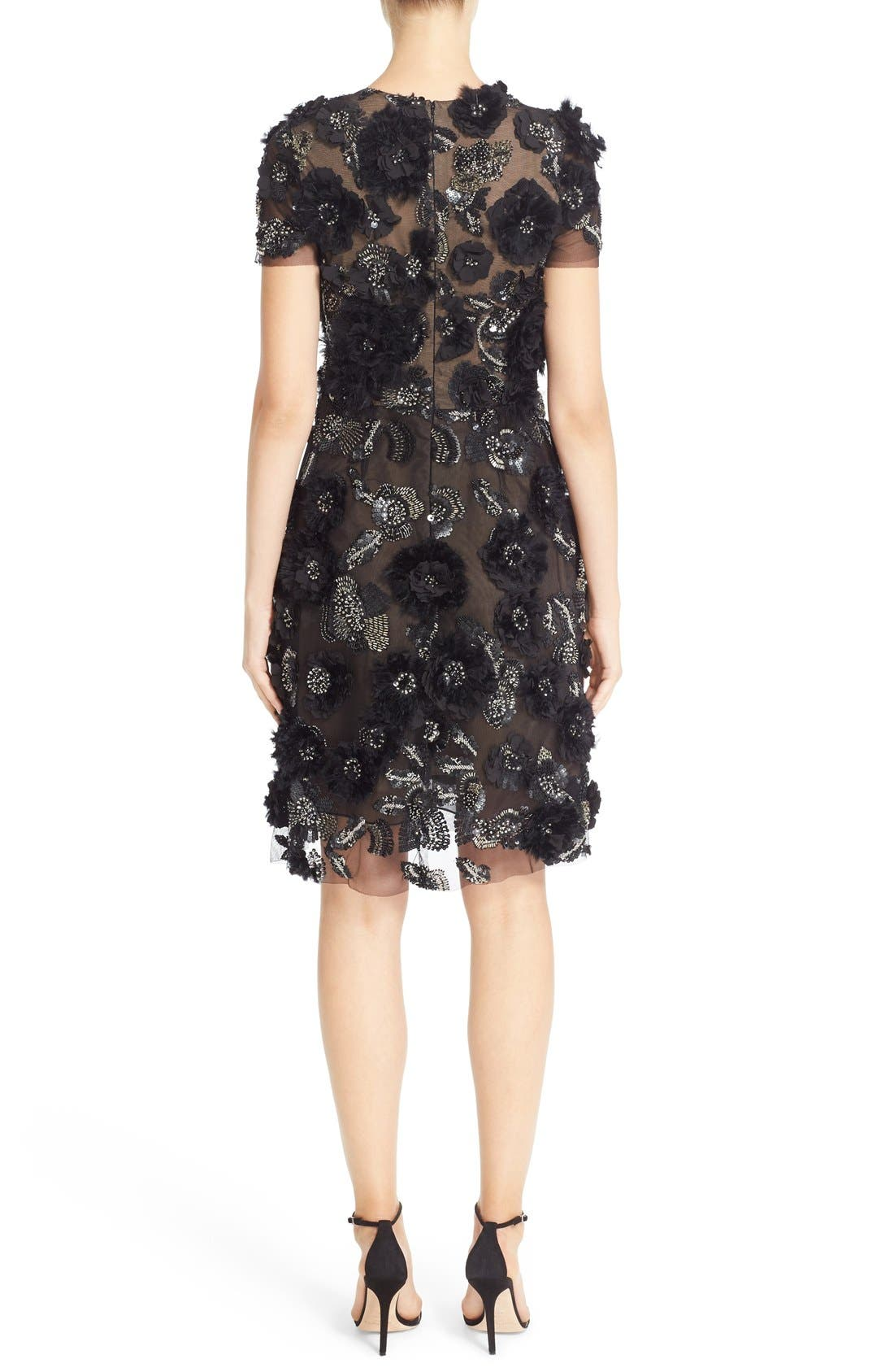 Alternate Image 2  - Marchesa Cap Sleeve Tulle Dress with 3D Floral Embellishments