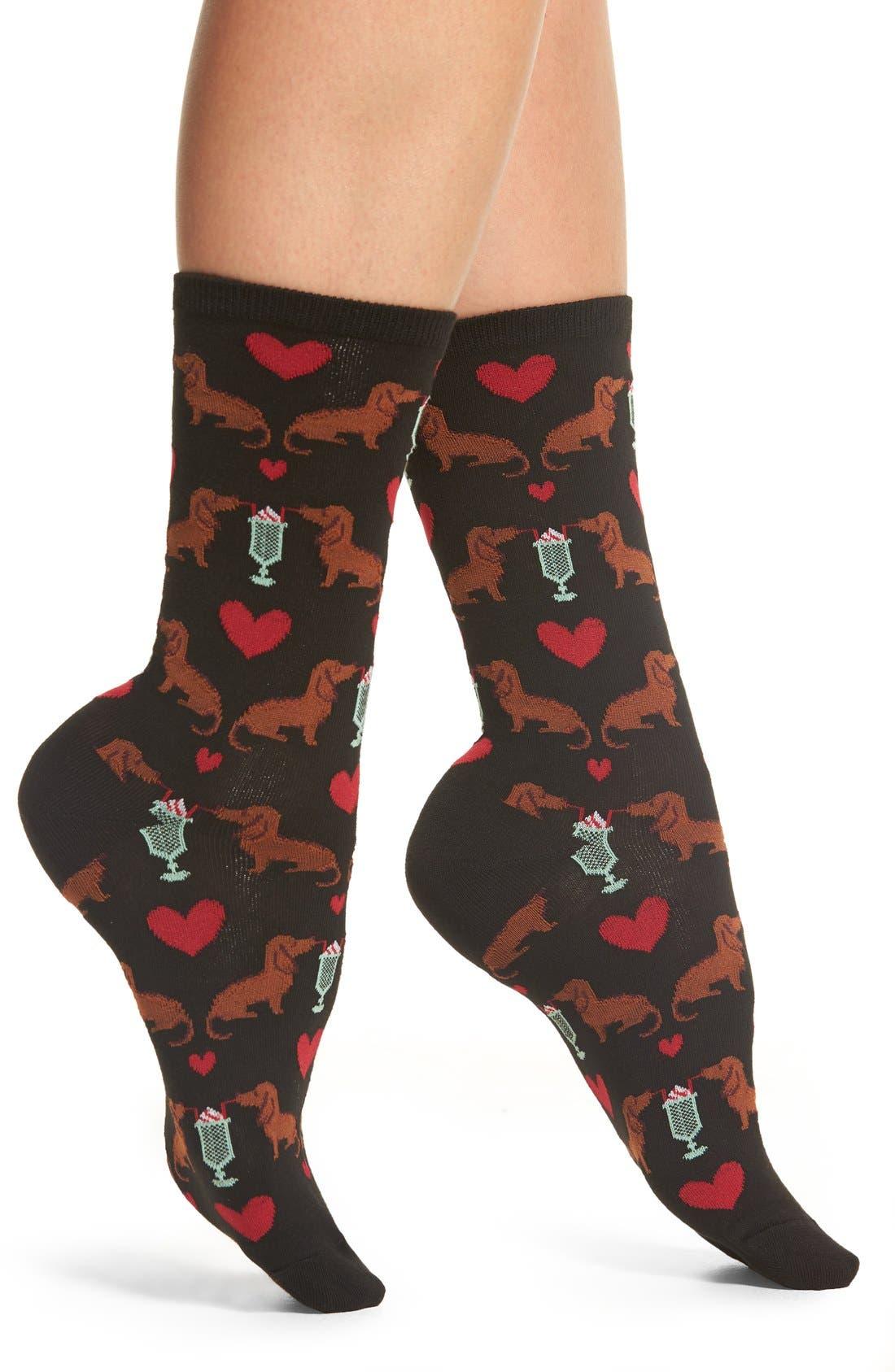 'Dogs & Milkshake' Crew Socks,                             Main thumbnail 1, color,                             Black