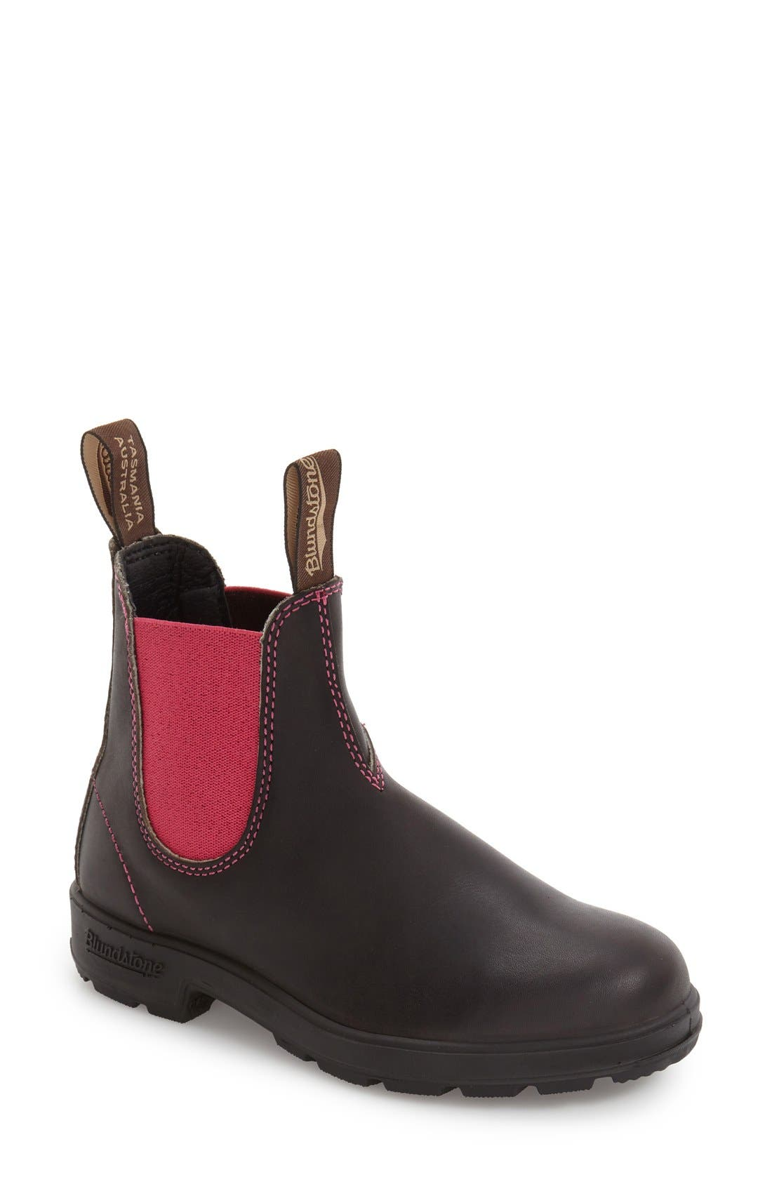 Footwear 'Original - 500 Series' Water Resistant Chelsea Boot,                             Main thumbnail 1, color,                             Stout Brown/ Pink Leather