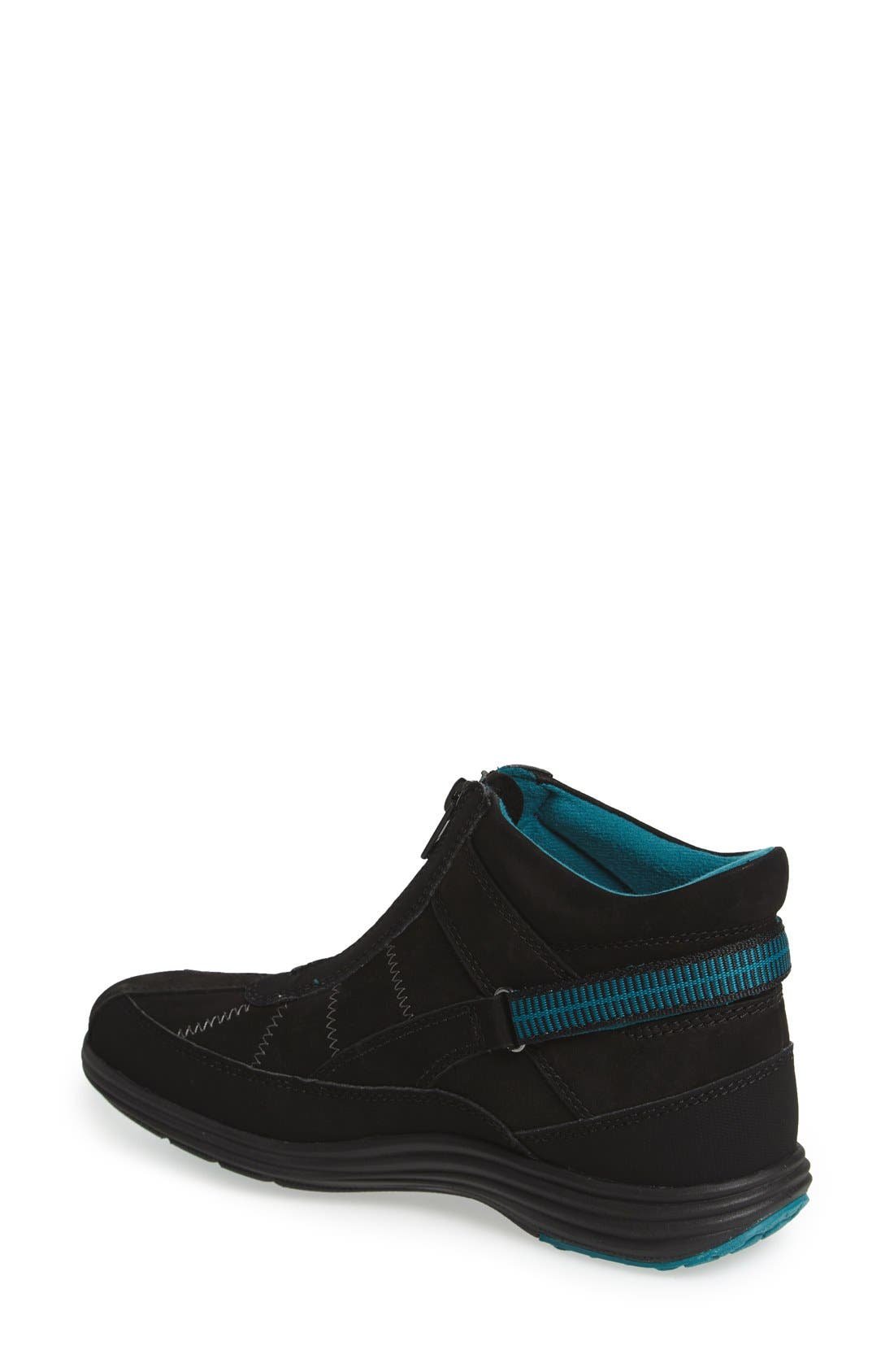 'Beverly' Waterproof Midi Sneaker,                             Alternate thumbnail 2, color,                             Black Leather