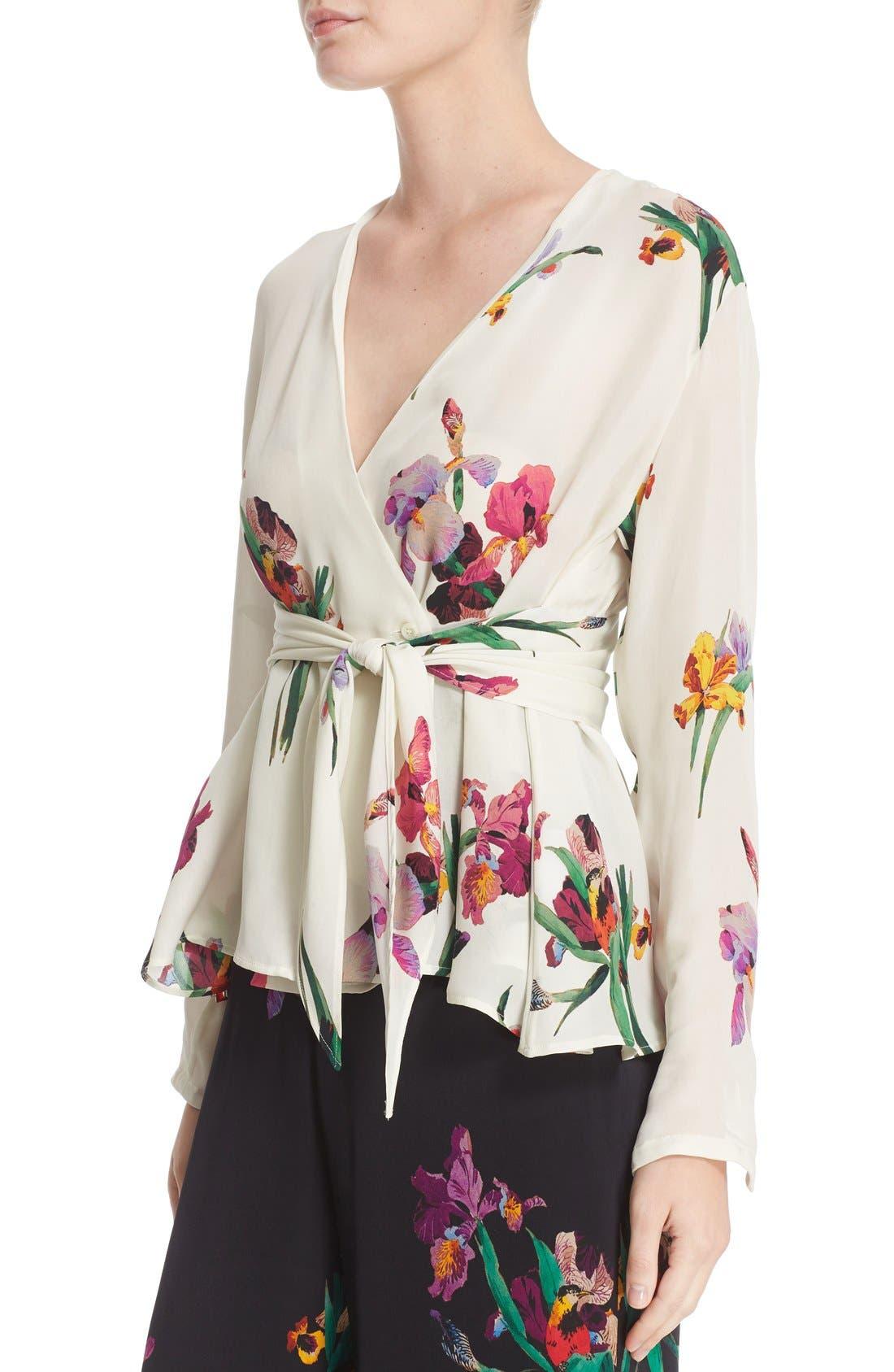Alternate Image 6  - Etro Floral & Bird Print Silk Wrap Blouse