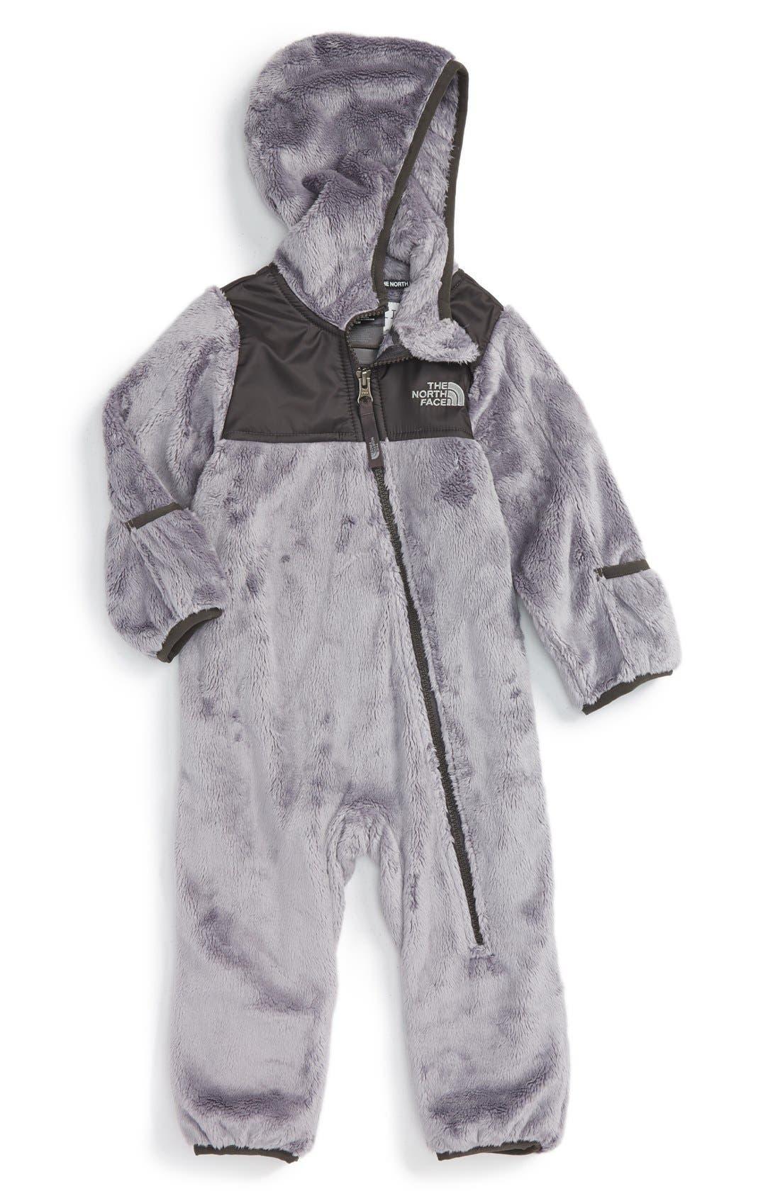 Oso Hooded Fleece Romper,                         Main,                         color, Metallic Silver