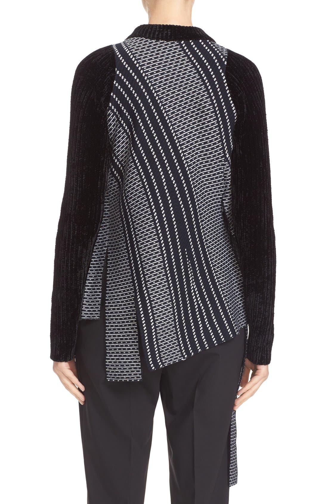 Draped Jacquard & Chenille Sweater,                             Alternate thumbnail 2, color,                             Sapphire