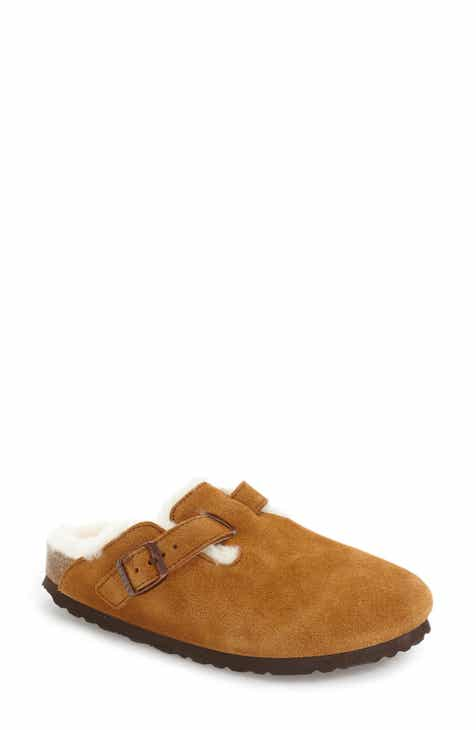 Birkenstock 'Boston' Genuine Shearling Lined Clog (Women)