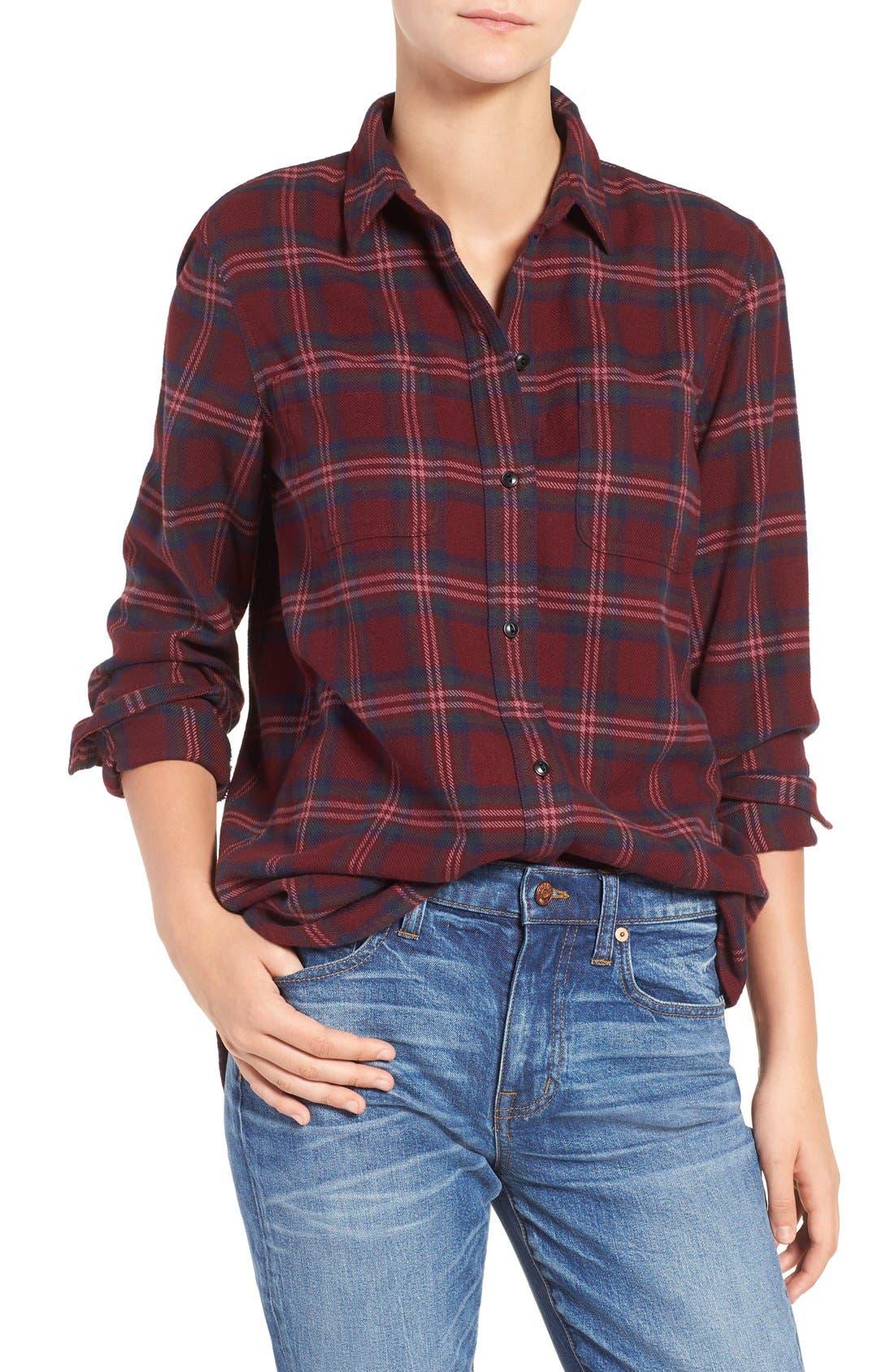 Shrunken Boyfriend Shirt,                         Main,                         color, Dark Cabernet