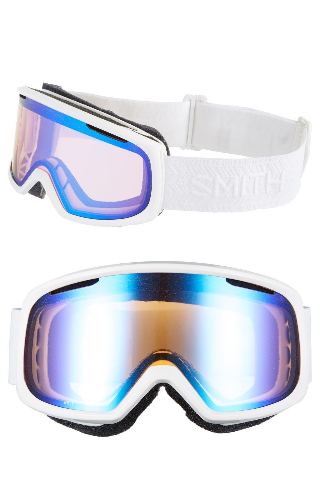 'Riot' Snow Goggles,                             Main thumbnail 1, color,                             White Eclipse/ Blue Mirror