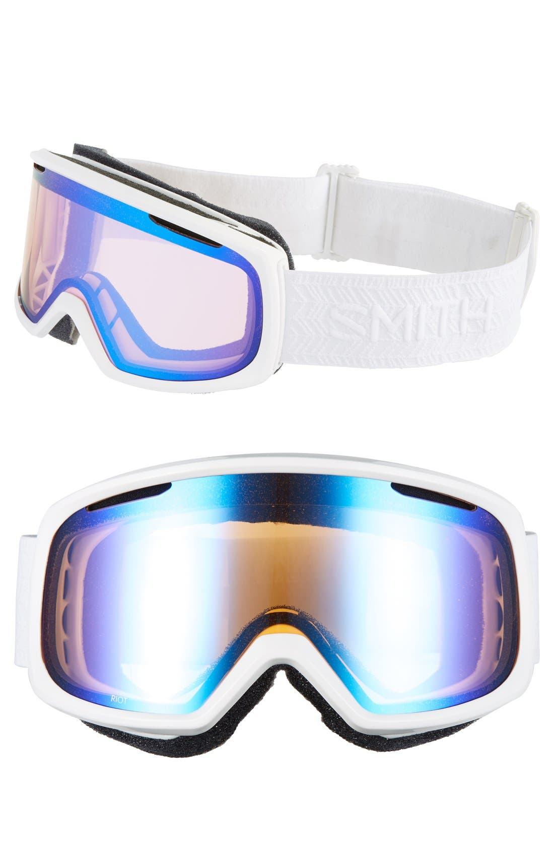 SMITH 'RIOT' SNOW GOGGLES - WHITE ECLIPSE/ BLUE MIRROR