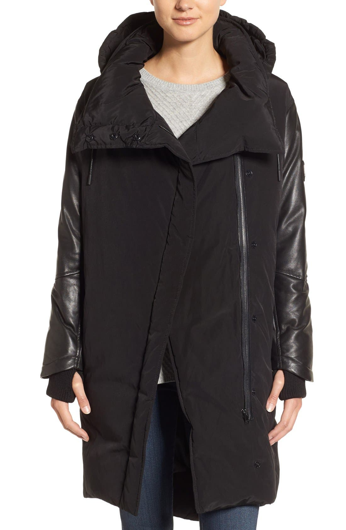 Oversize Down Coat with Leather Trim,                         Main,                         color, Black