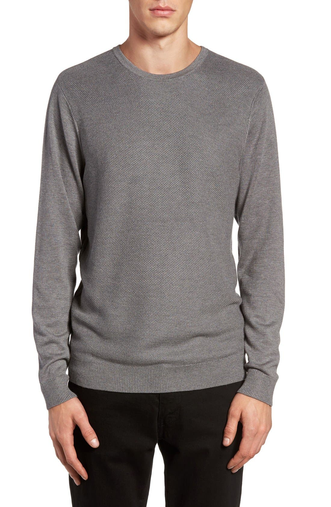 Honeycomb Stitch Crewneck Sweater,                             Main thumbnail 1, color,                             Grey Cloudy Heather