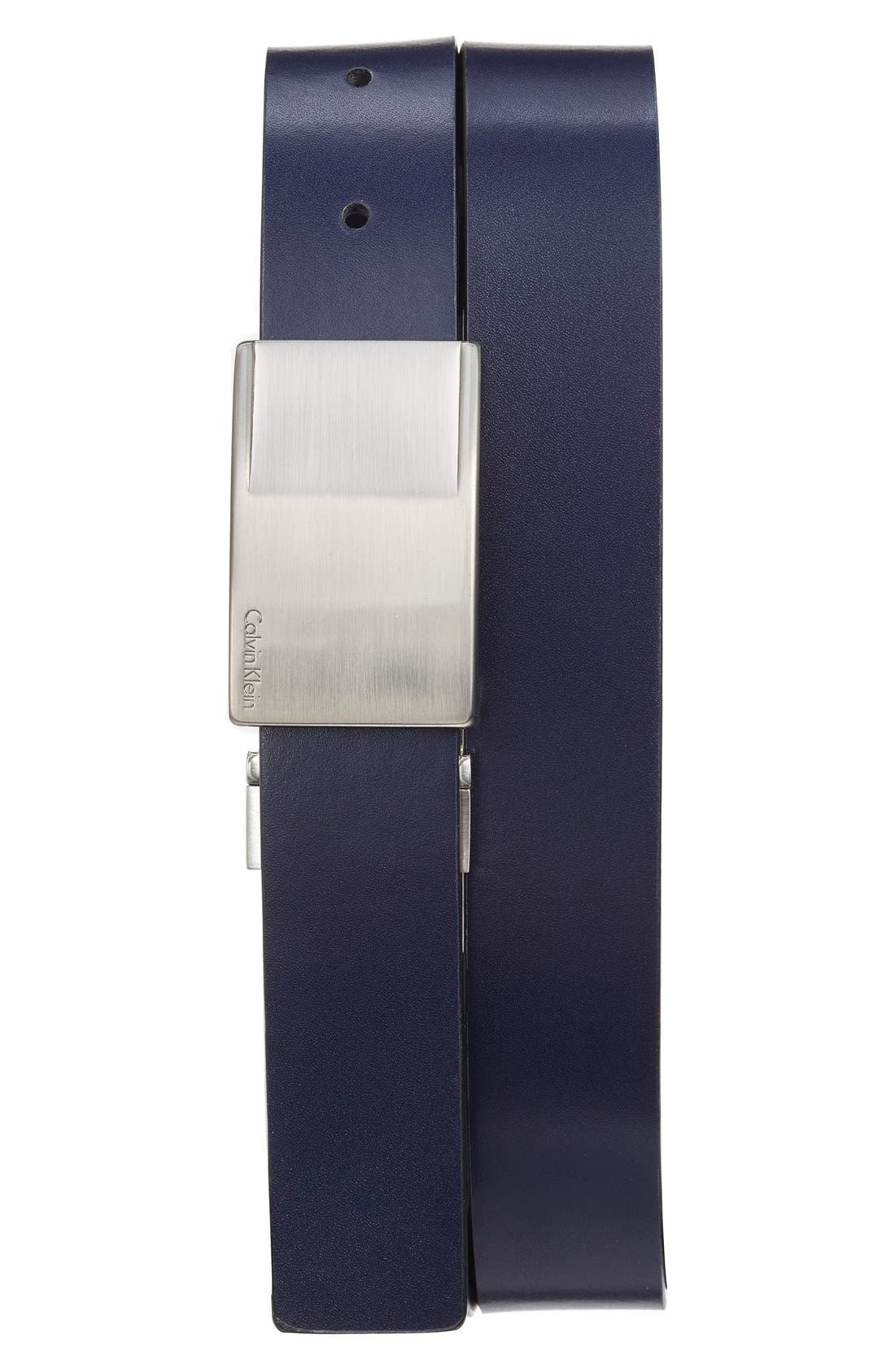 Reversible Leather Belt,                             Main thumbnail 1, color,                             Ink