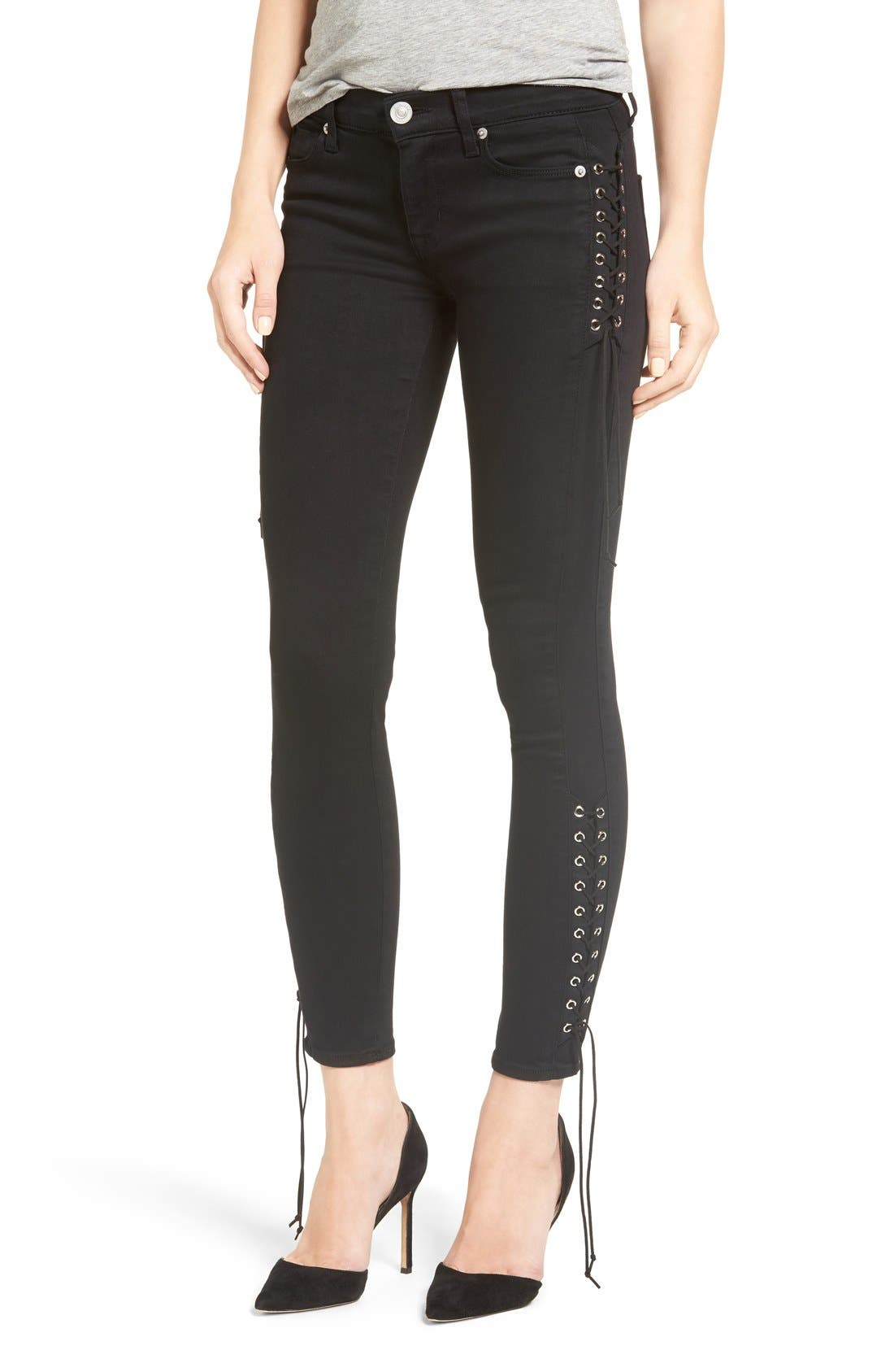 Main Image - Hudson Jeans Suki Lace-Up Ankle Skinny Jeans