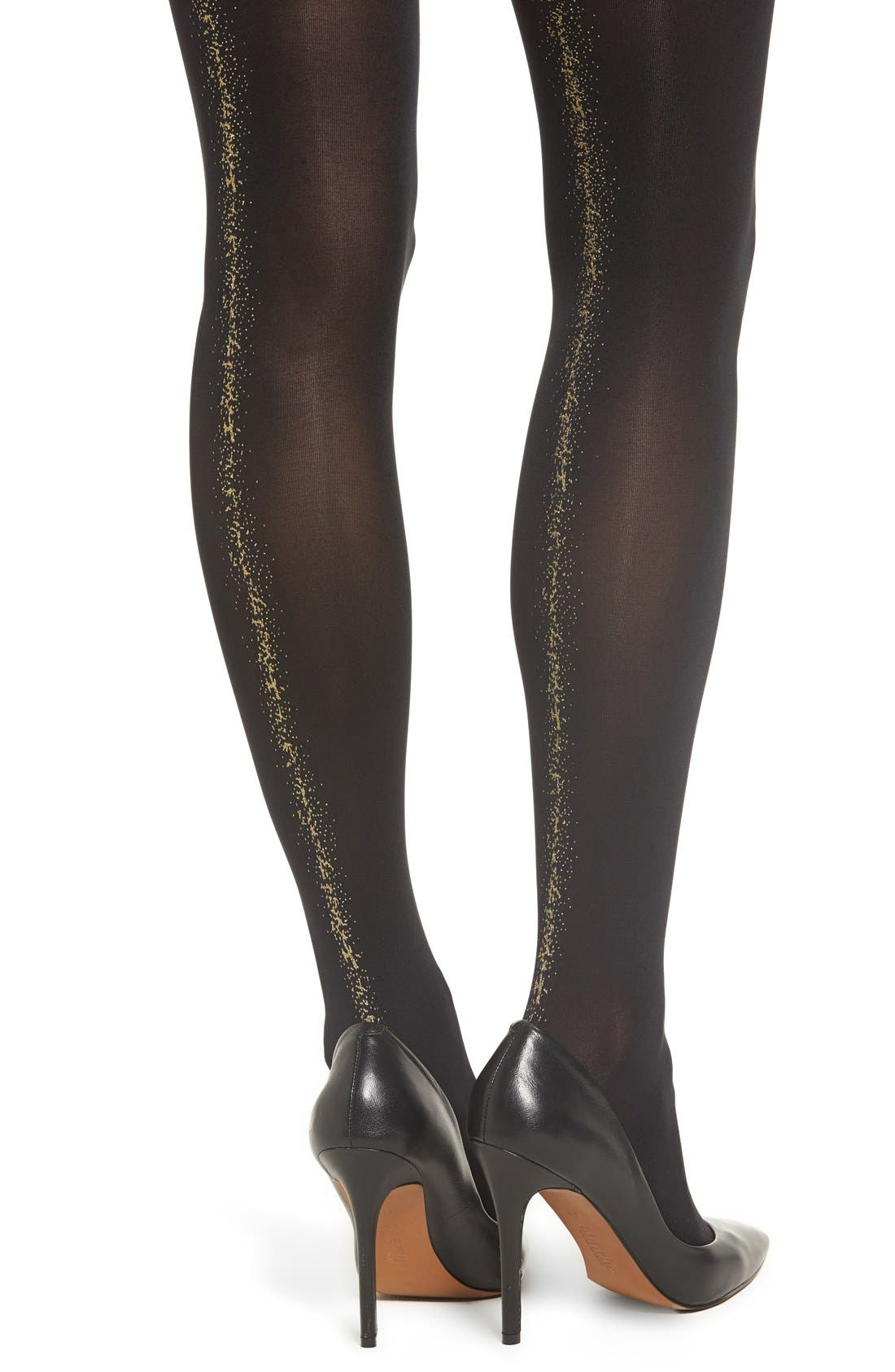 Opaque Tights,                             Alternate thumbnail 2, color,                             Black Mix