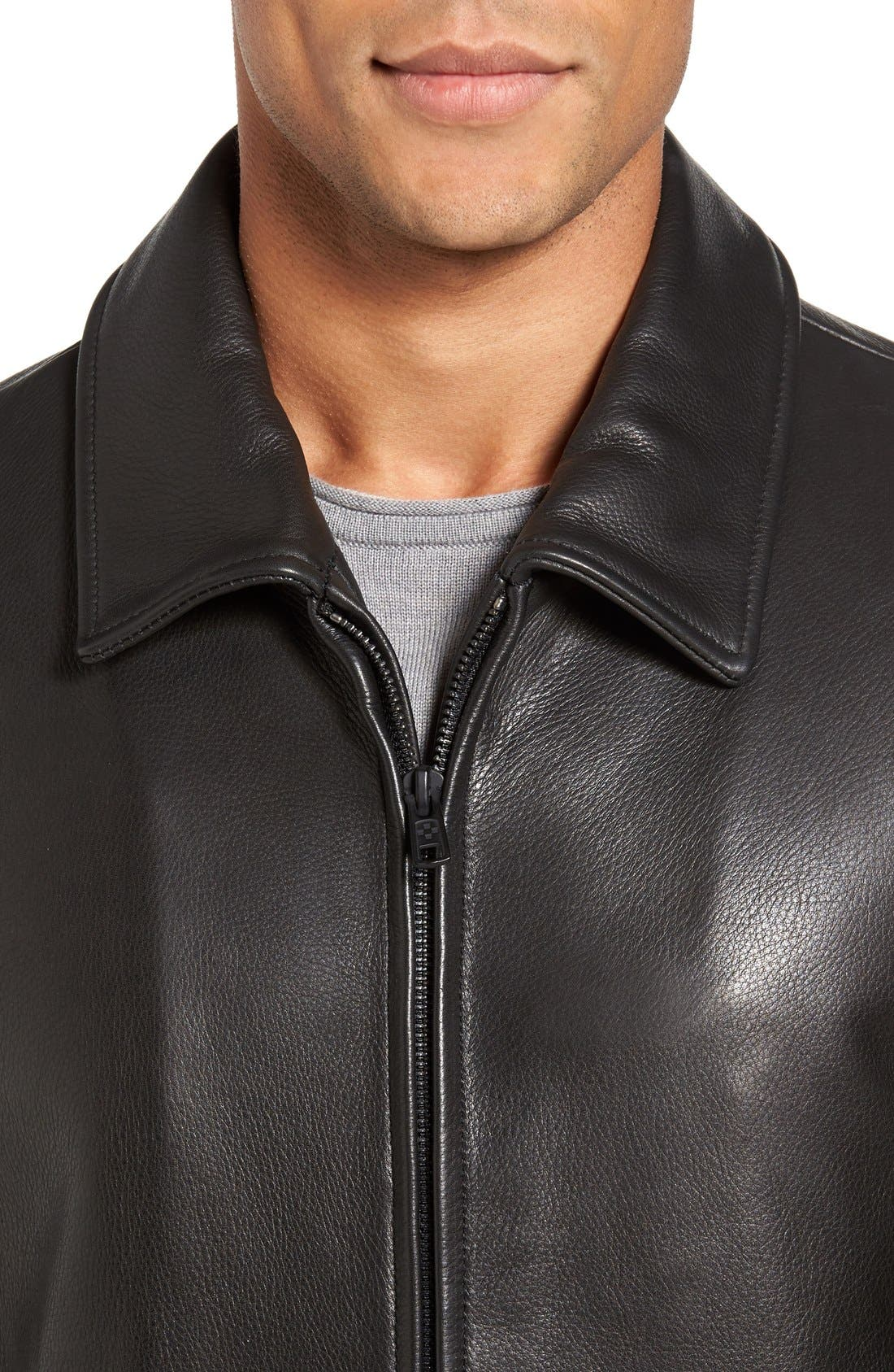 Leather Zip Front Jacket,                             Alternate thumbnail 4, color,                             Black