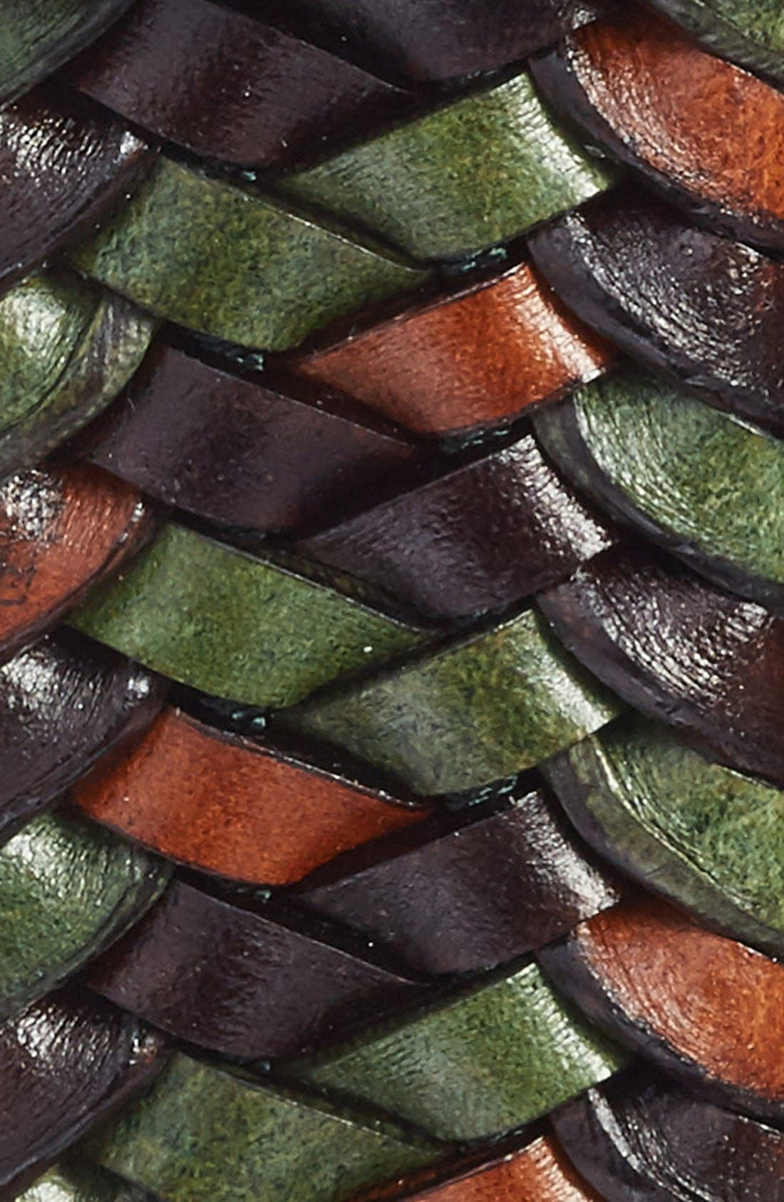 Woven Leather Belt,                             Alternate thumbnail 2, color,                             Green