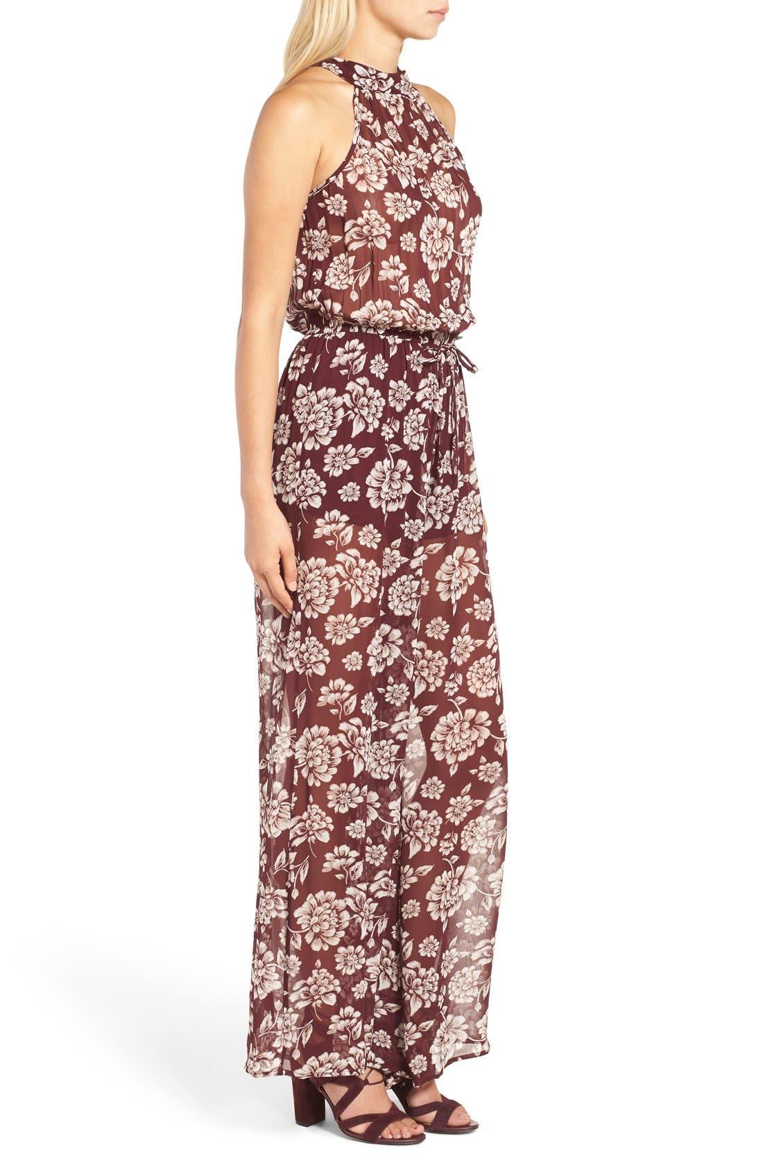 Alternate Image 3  - Band of Gypsies Floral Print Chiffon Jumpsuit