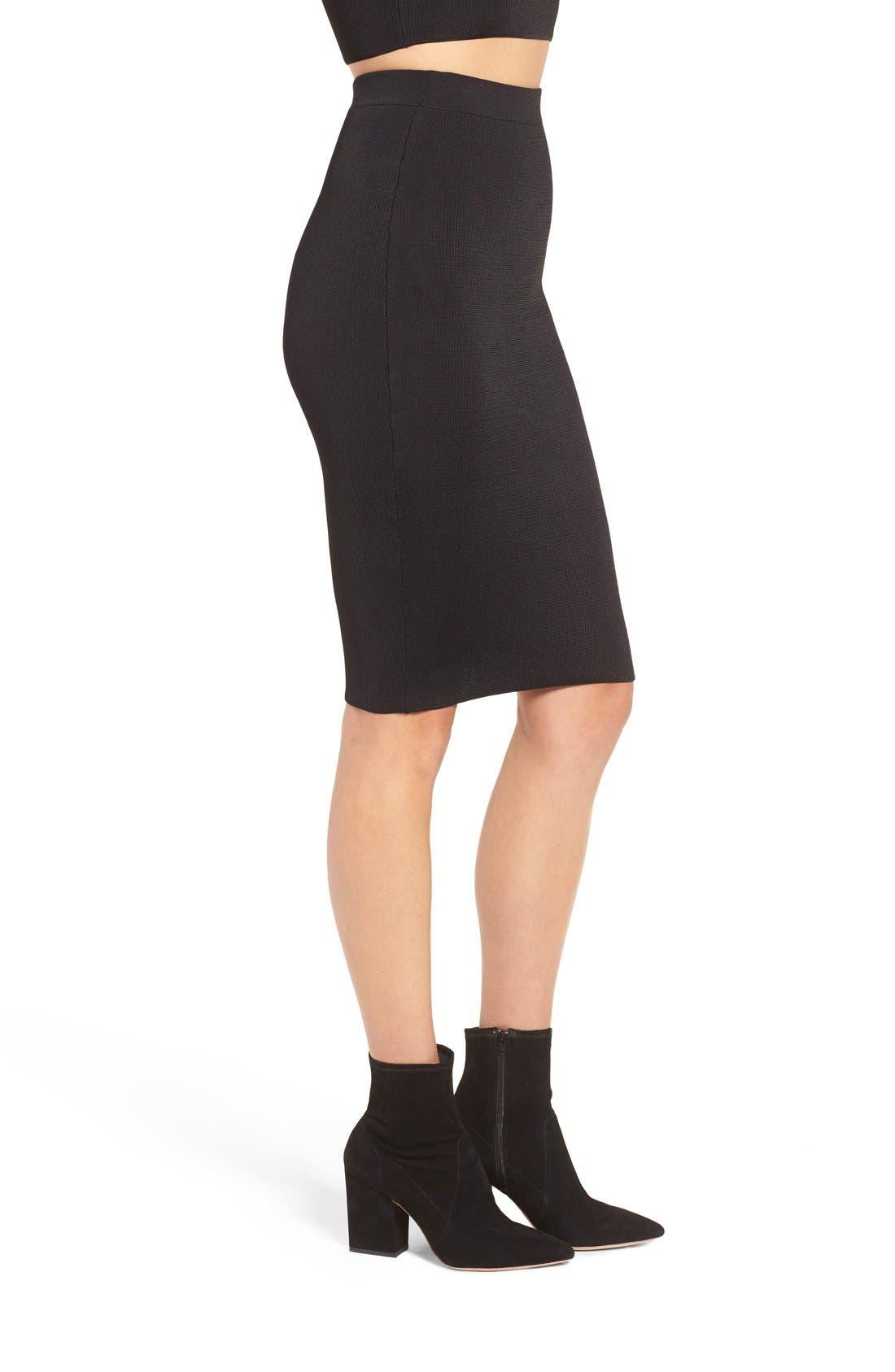 Ribbed Skirt,                             Alternate thumbnail 4, color,                             Black