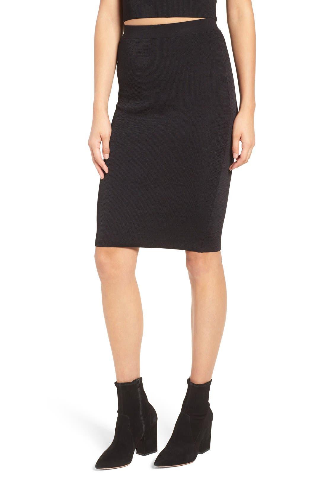 Ribbed Skirt,                         Main,                         color, Black