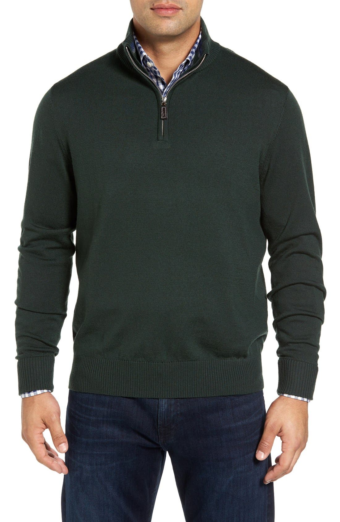 Main Image - TailorByrd S.Cascade Quarter Zip Wool Sweater