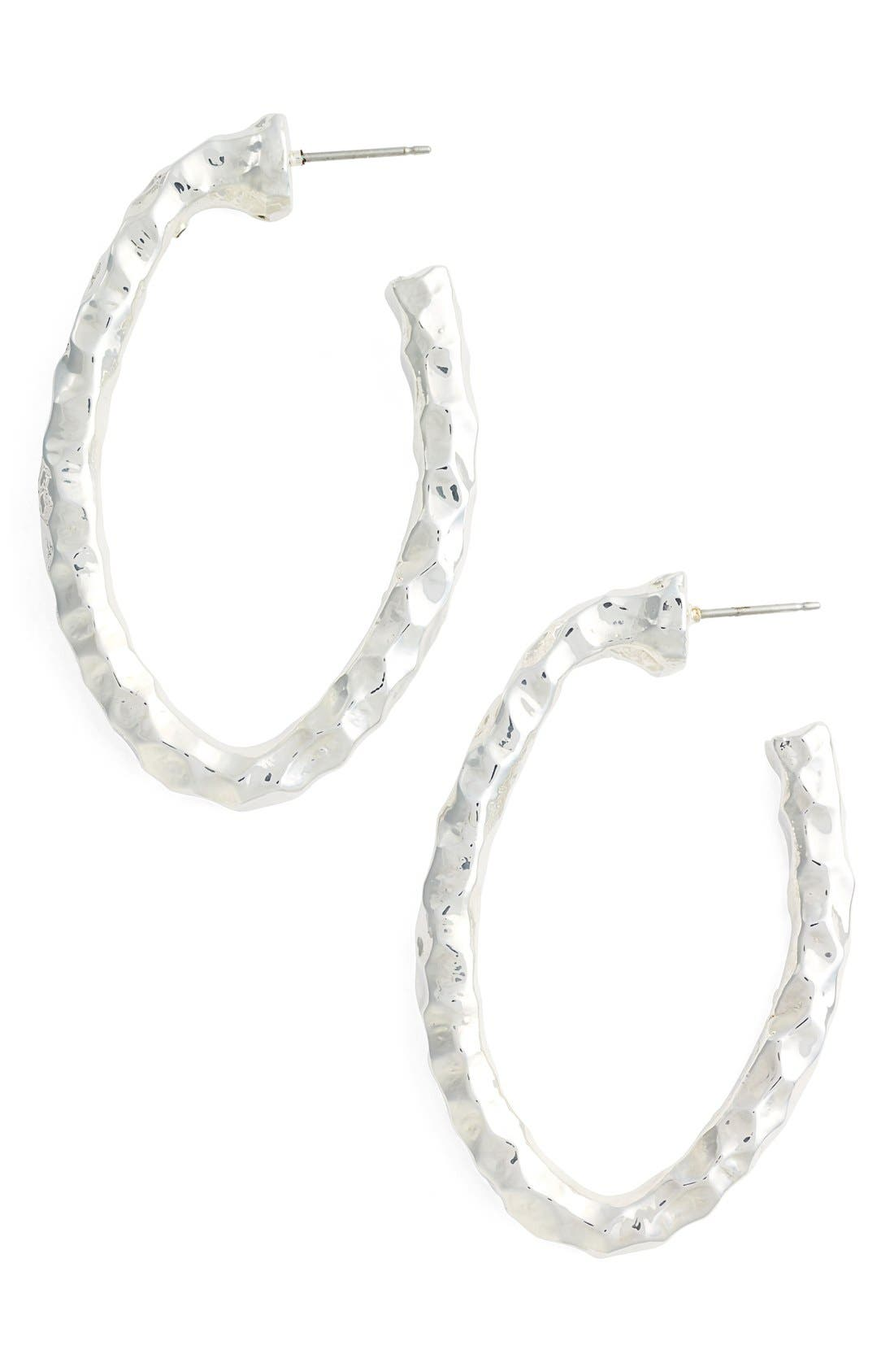 Hammered Hoop Earrings,                             Main thumbnail 1, color,                             Silver