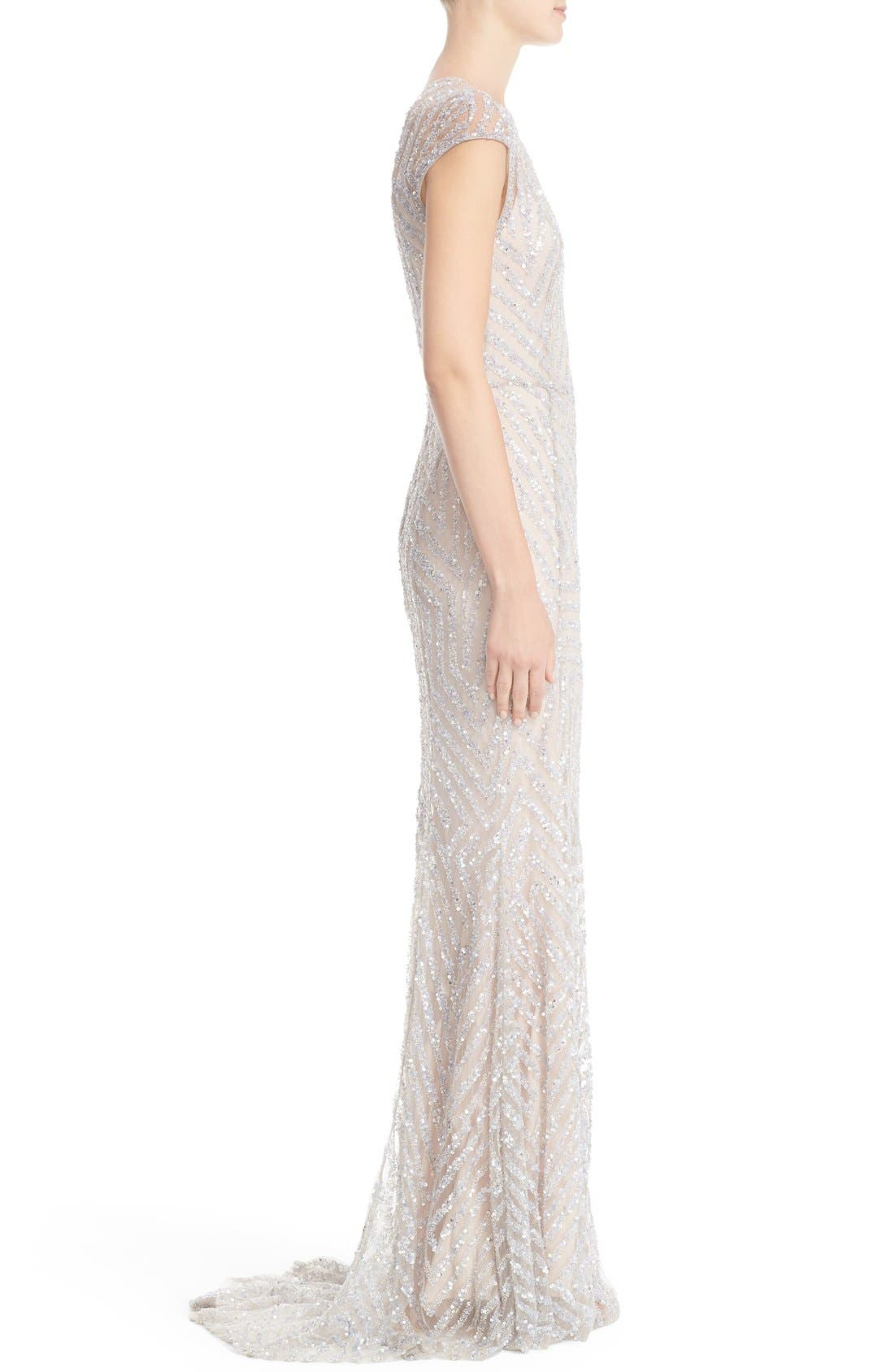 Hand Embellished Cap Sleeve Mermaid Gown,                             Alternate thumbnail 4, color,                             Silver