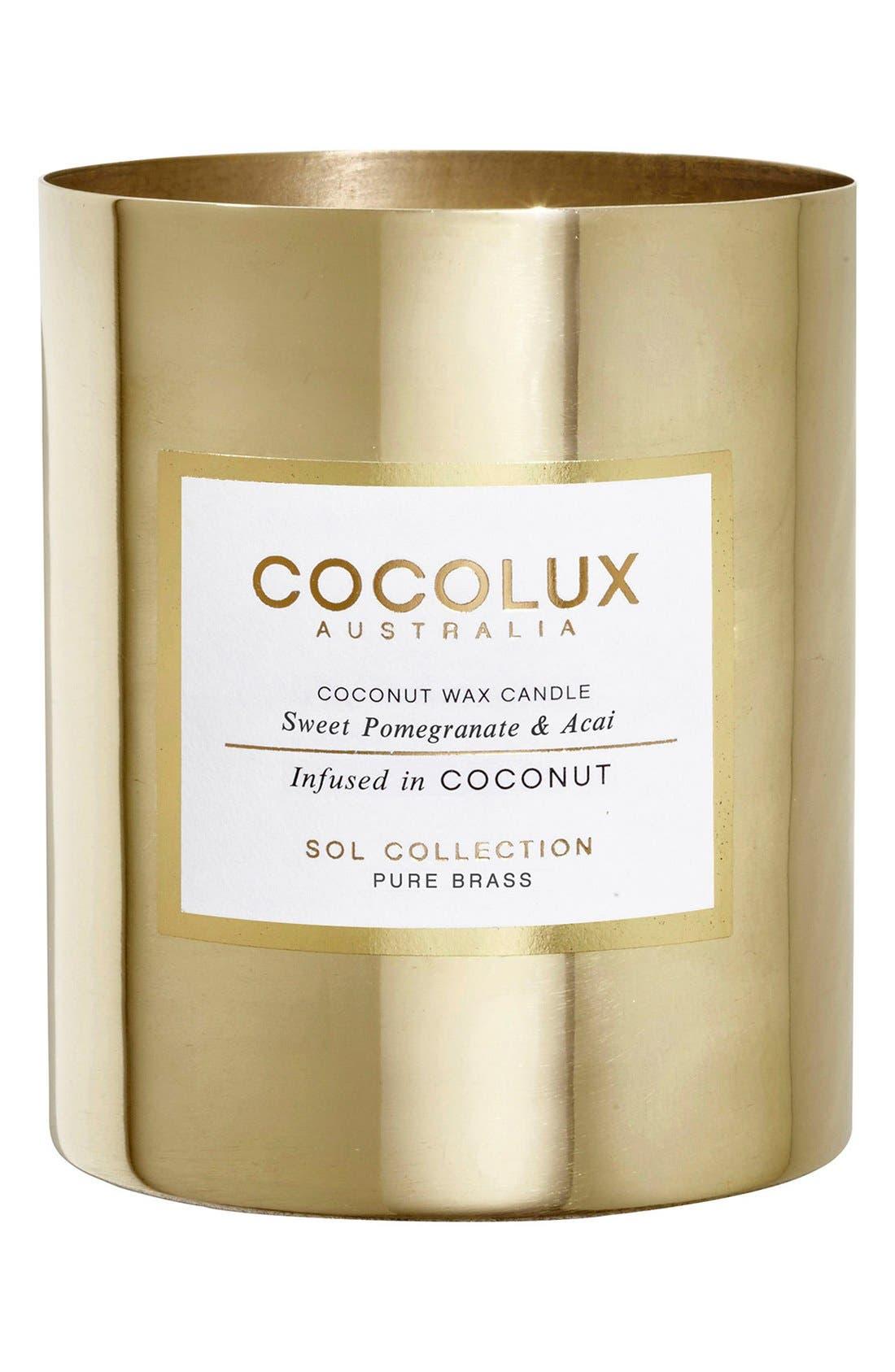 Alternate Image 1 Selected - Cocolux Australia Sweet Pomegranate & Acai Brass Candle