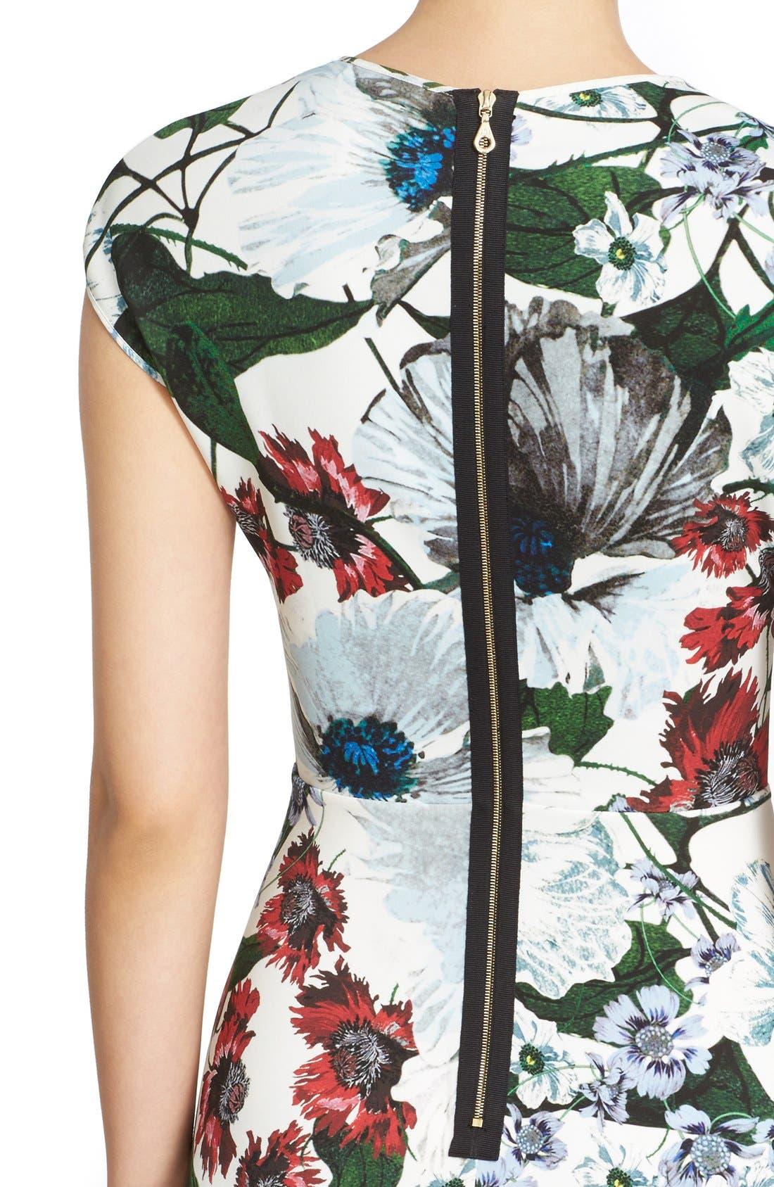 Darlna Floral Print Neoprene Flutter Hem Dress,                             Alternate thumbnail 6, color,                             White/ Red