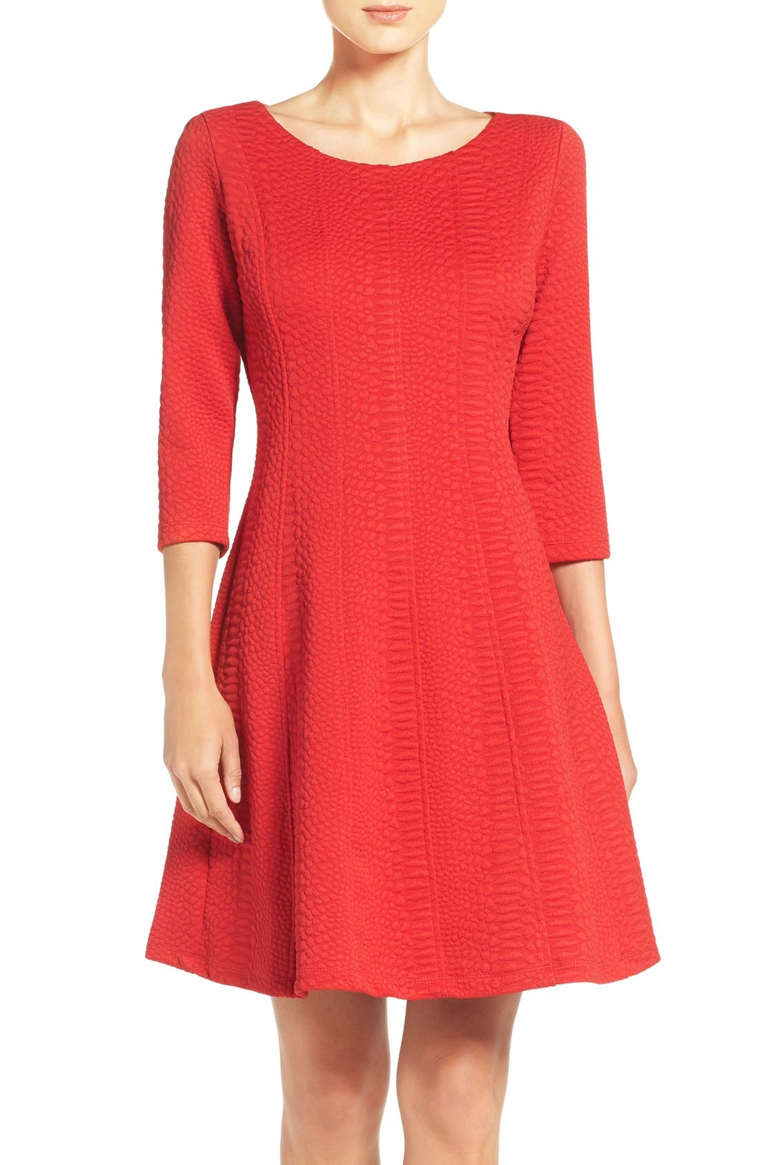 Jacquard Knit Fit & Flare Dress,                         Main,                         color, Red