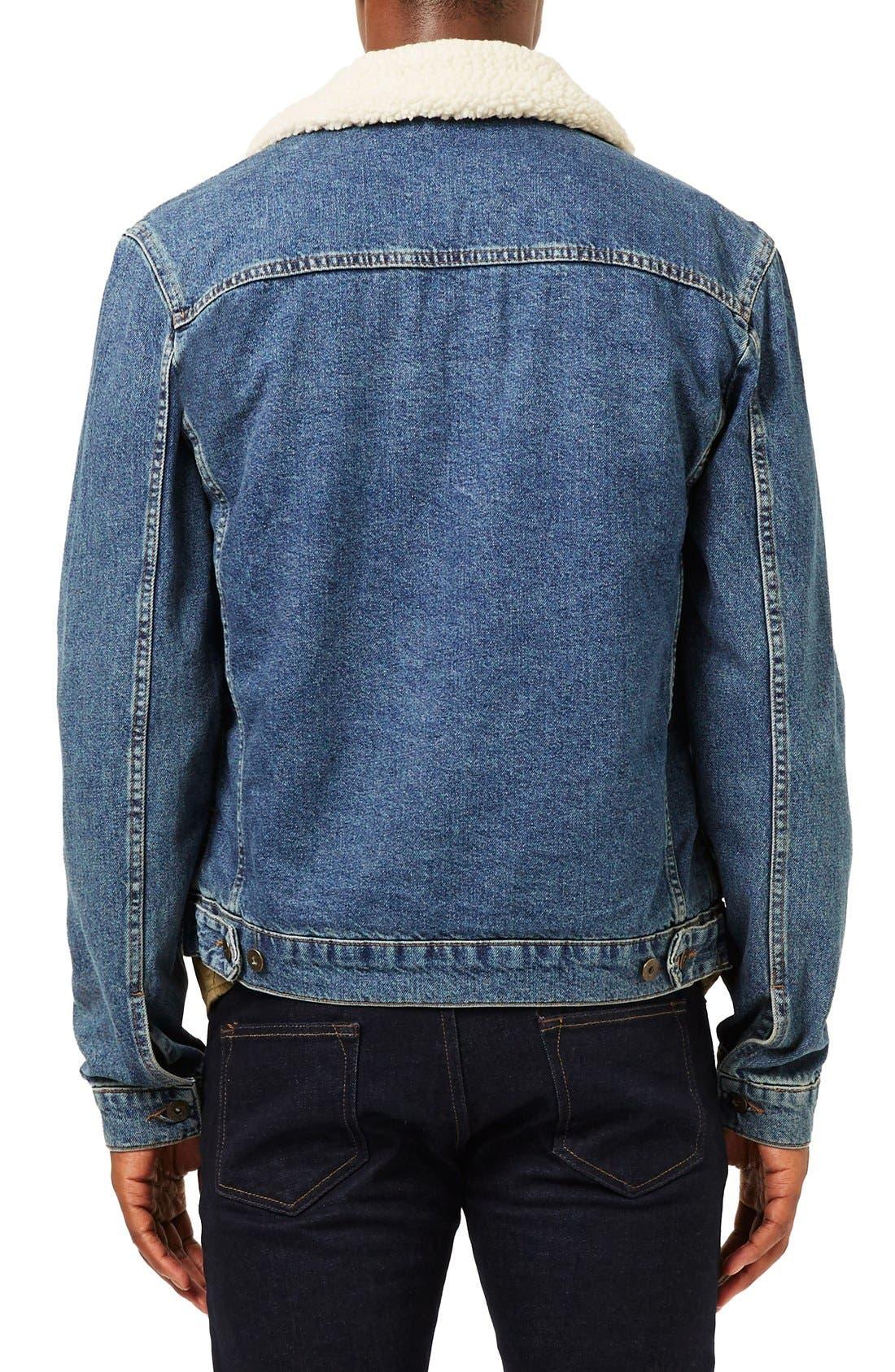 Borg Denim Jacket,                             Alternate thumbnail 3, color,                             Blue