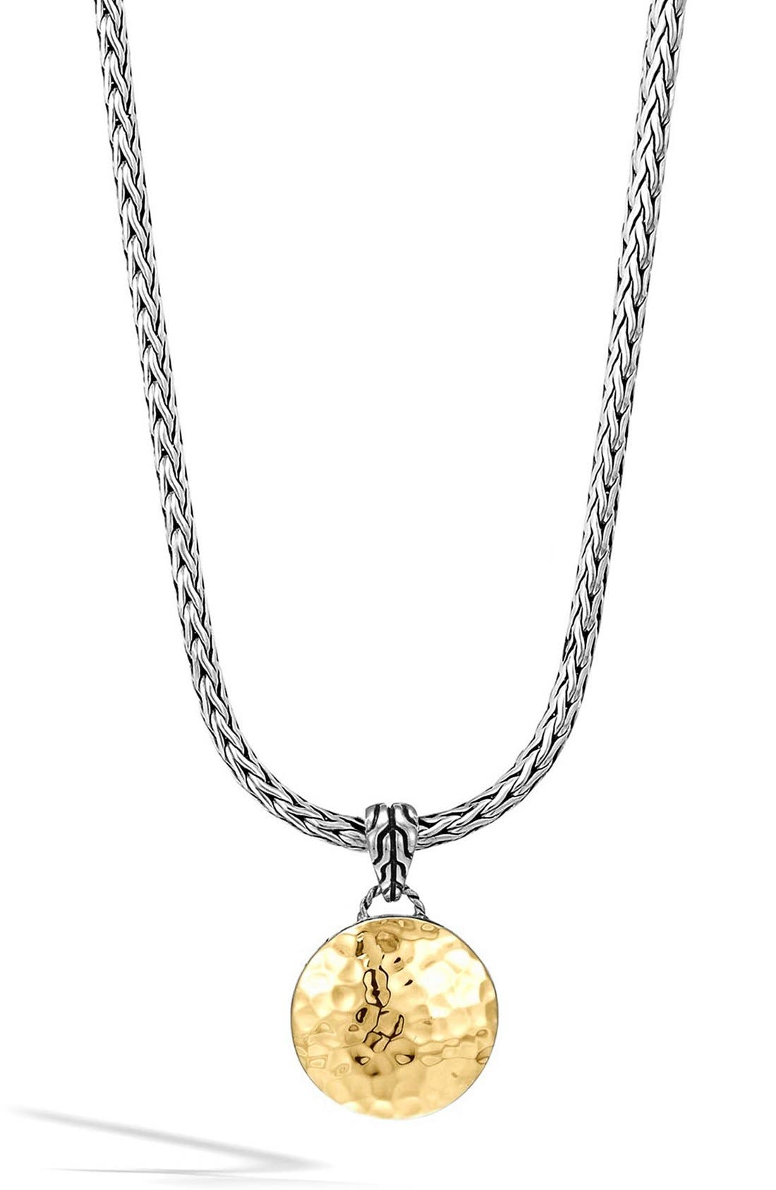 'Palu' Round Pendant Necklace,                             Main thumbnail 1, color,                             Silver/ Gold