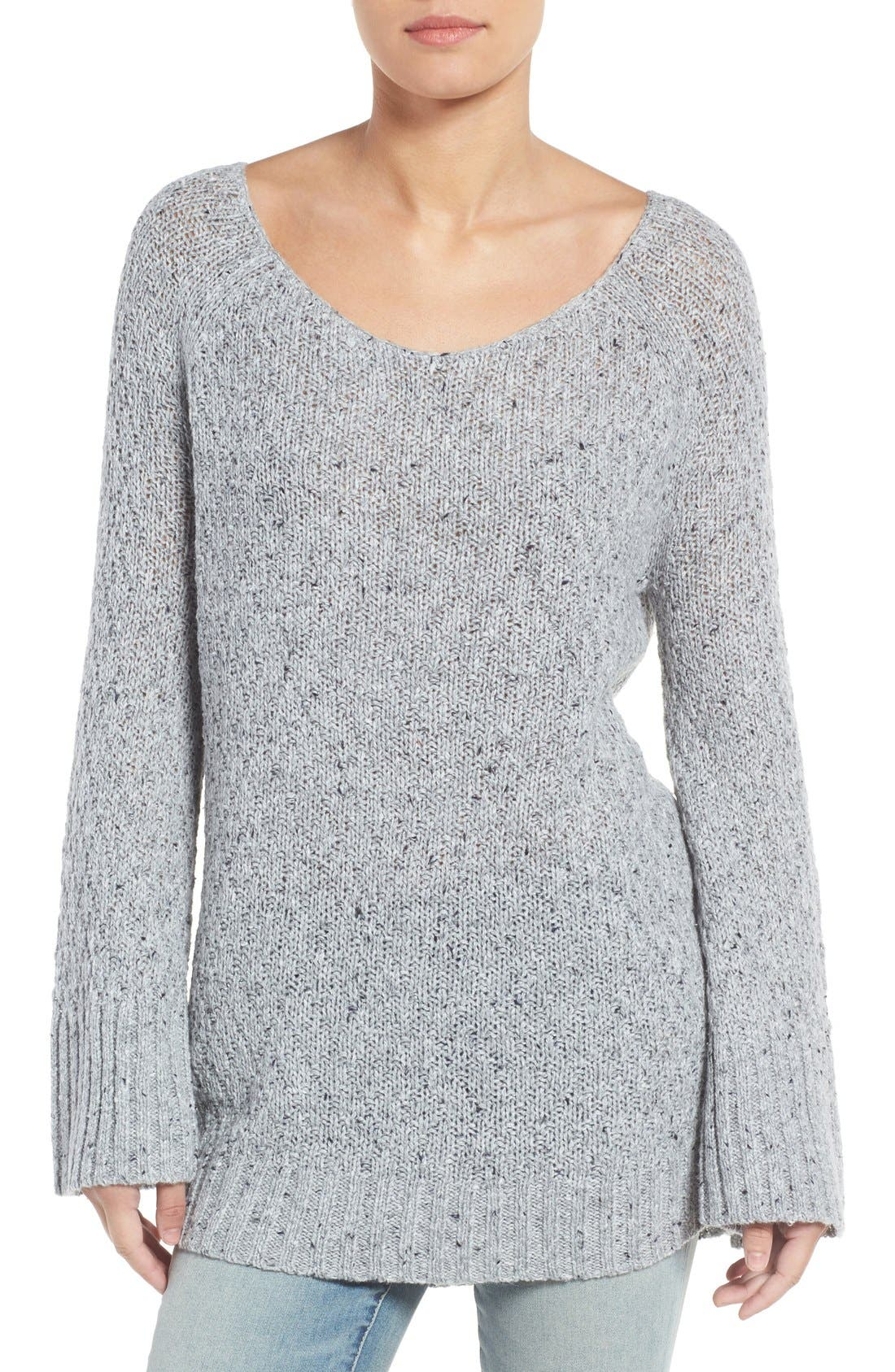 Slouchy Tunic Sweater,                         Main,                         color, Grey Heather