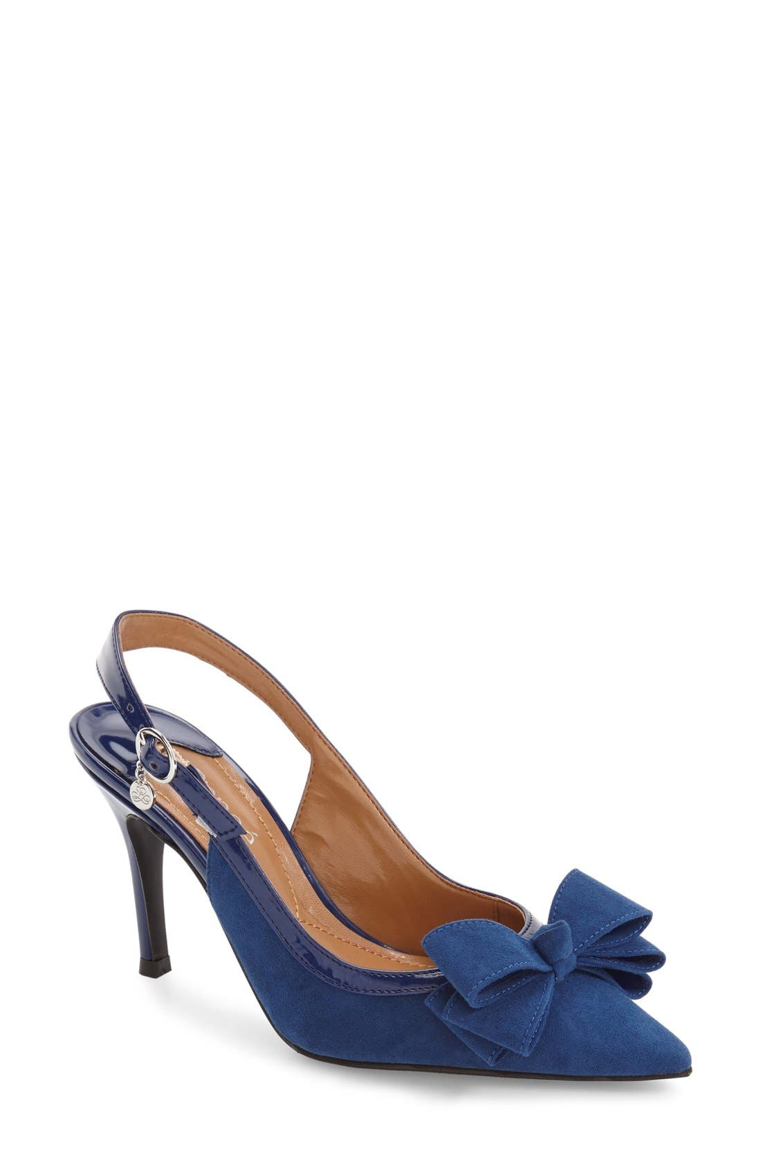 Charis Slingback Bow Pump,                             Main thumbnail 1, color,                             Imperial Blue Faux Suede