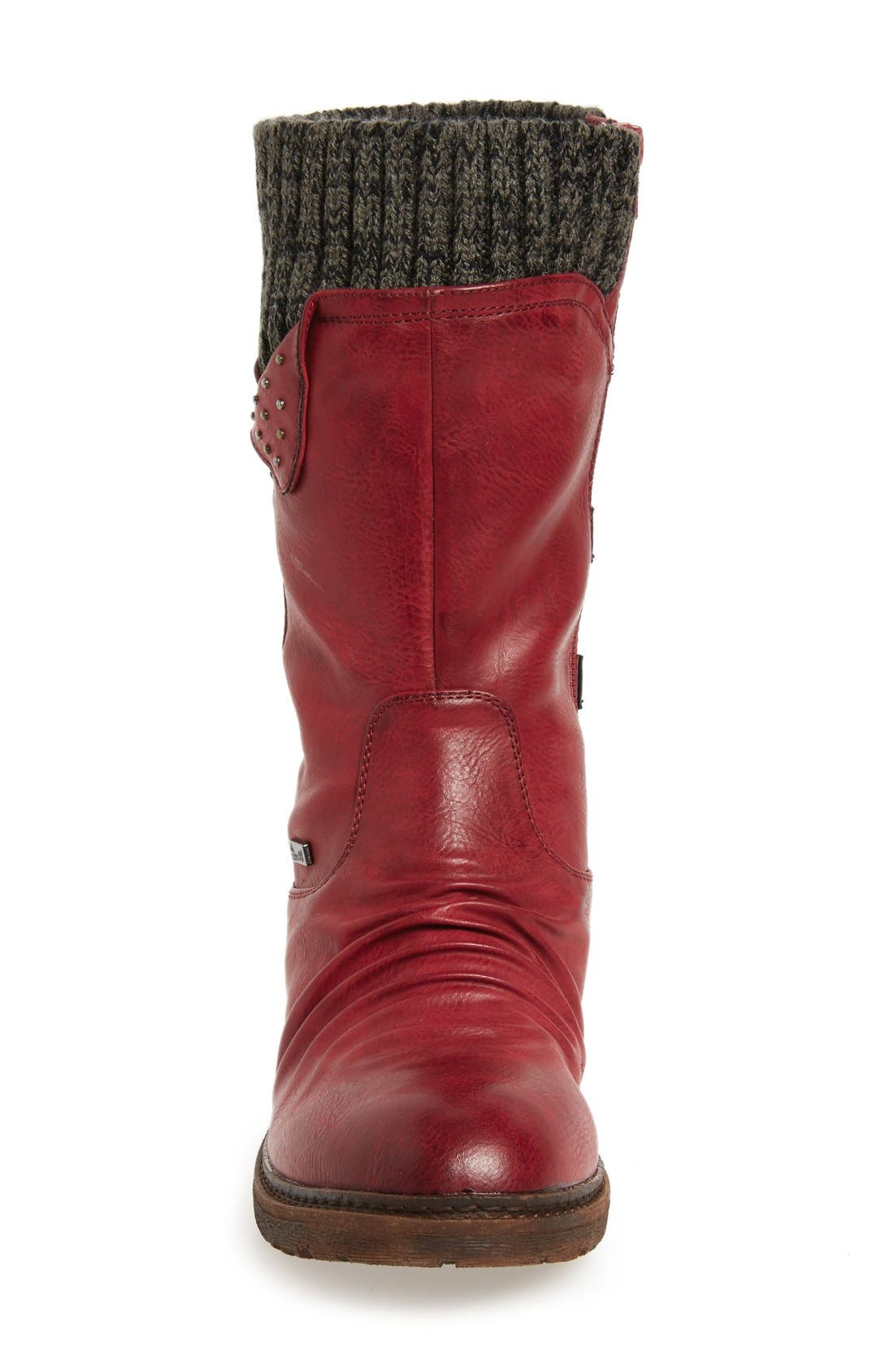 Dominika 73 Water Resistant Boot,                             Alternate thumbnail 3, color,                             Burgundy/ Black